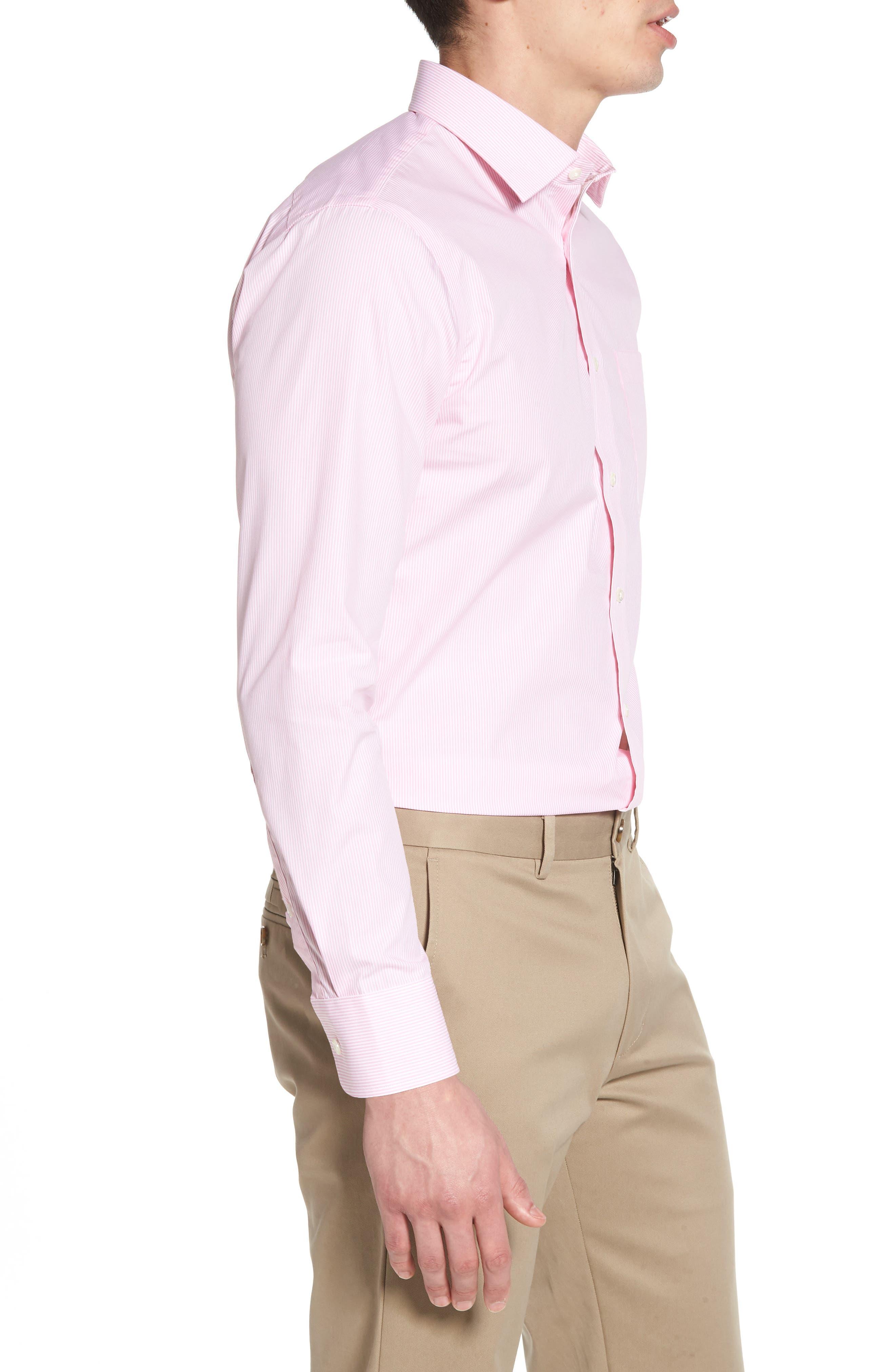 Trim Fit Non-Iron Stripe Dress Shirt,                             Alternate thumbnail 24, color,