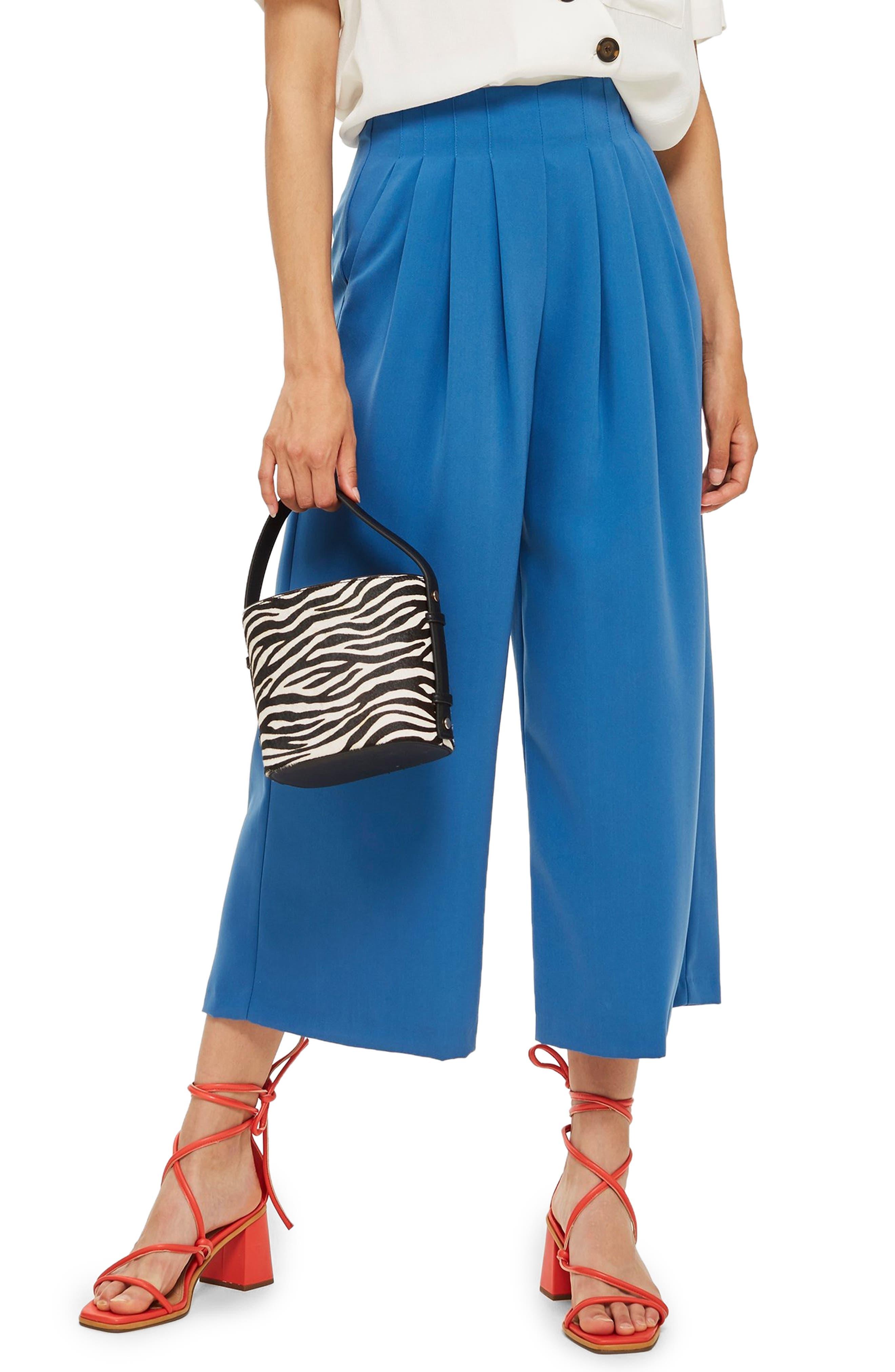 Ivy Crop Wide Leg Trousers,                             Main thumbnail 1, color,                             BLUE