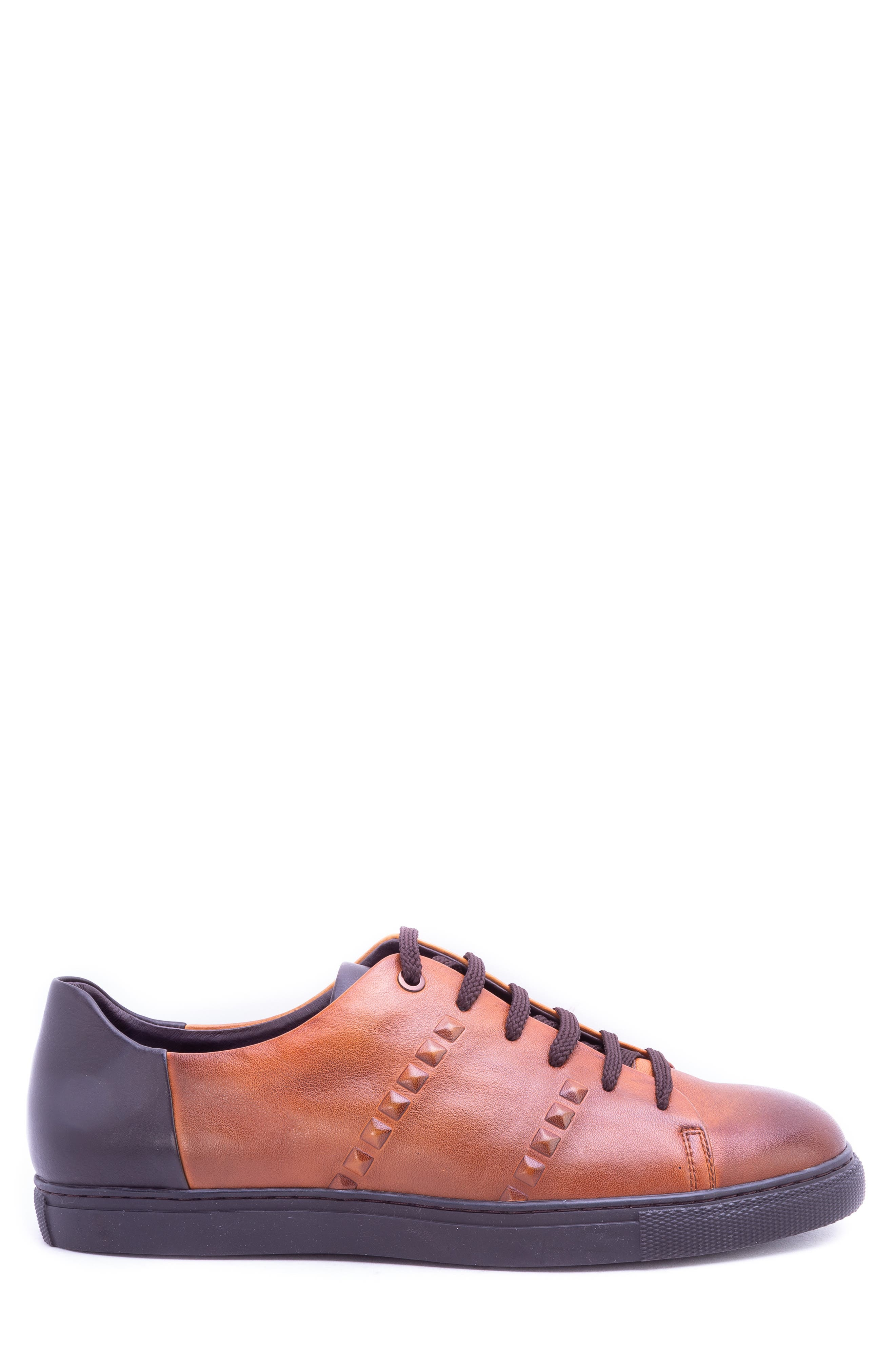 Strozzi Studded Sneaker,                             Alternate thumbnail 3, color,                             COGNAC LEATHER