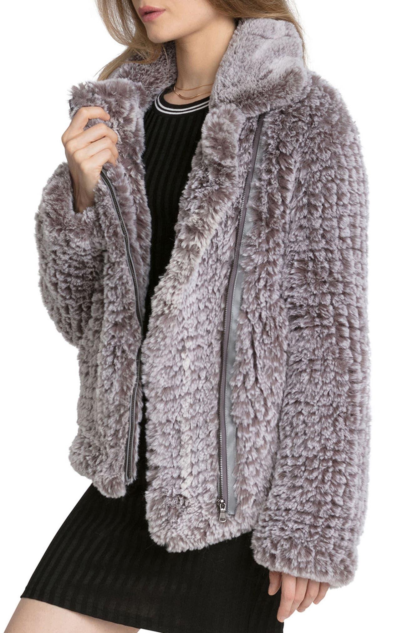 Faux Fur Jacket,                             Alternate thumbnail 3, color,                             022
