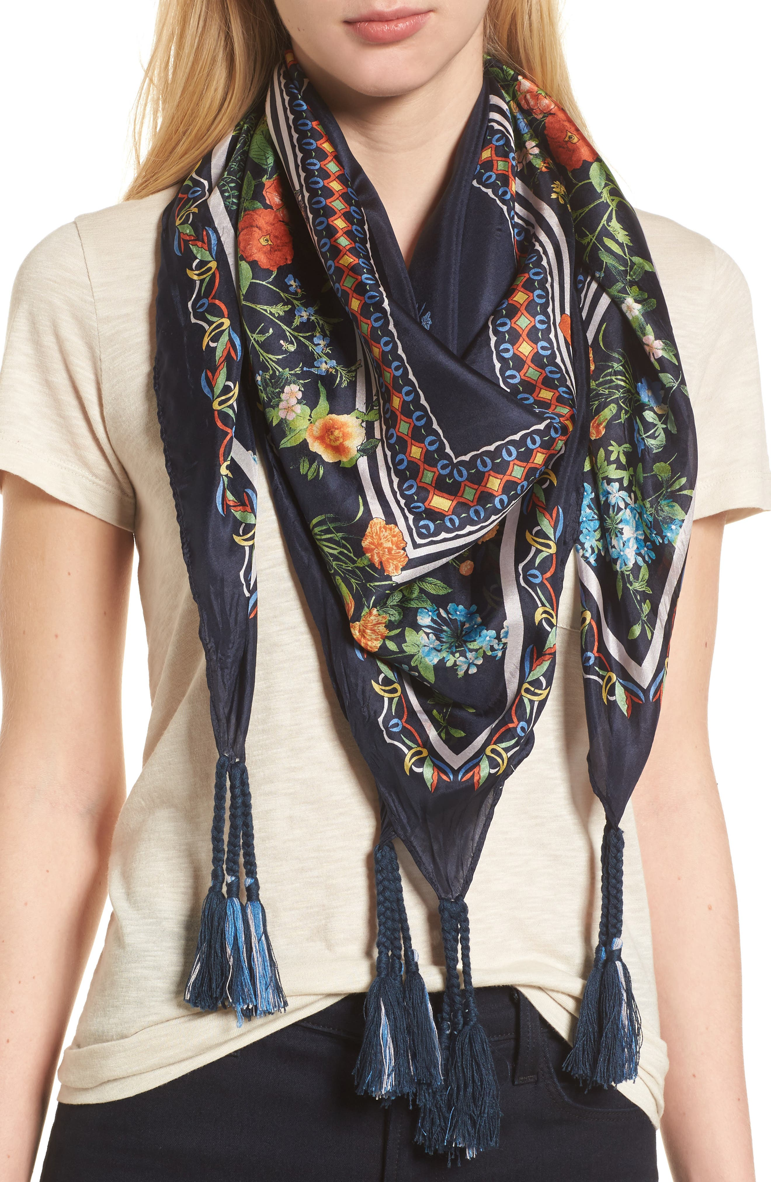 Romantico Tassel Trim Silk Scarf,                             Main thumbnail 1, color,