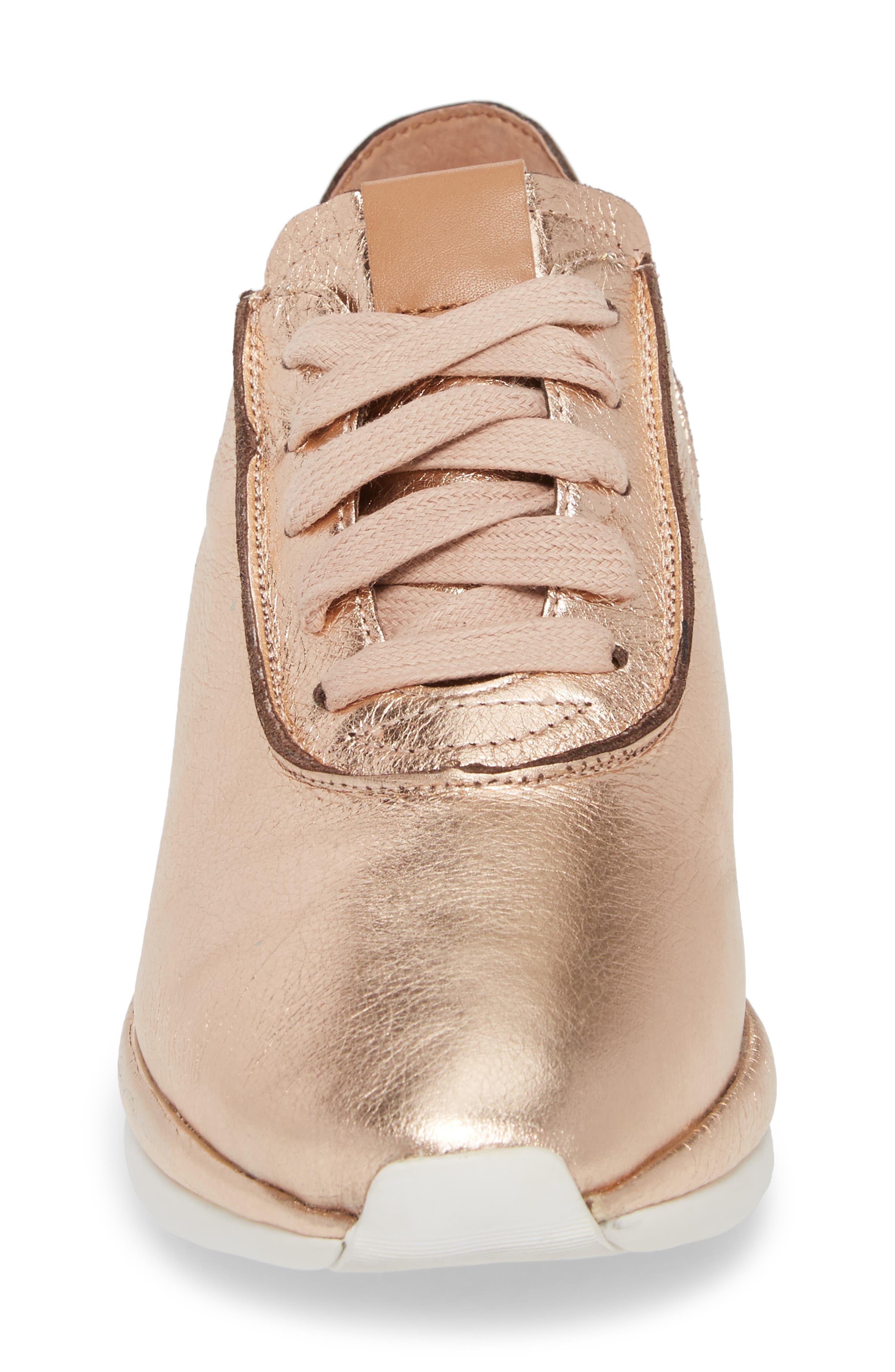 Raina Sneaker,                             Alternate thumbnail 4, color,                             ROSE GOLD METALLIC LEATHER