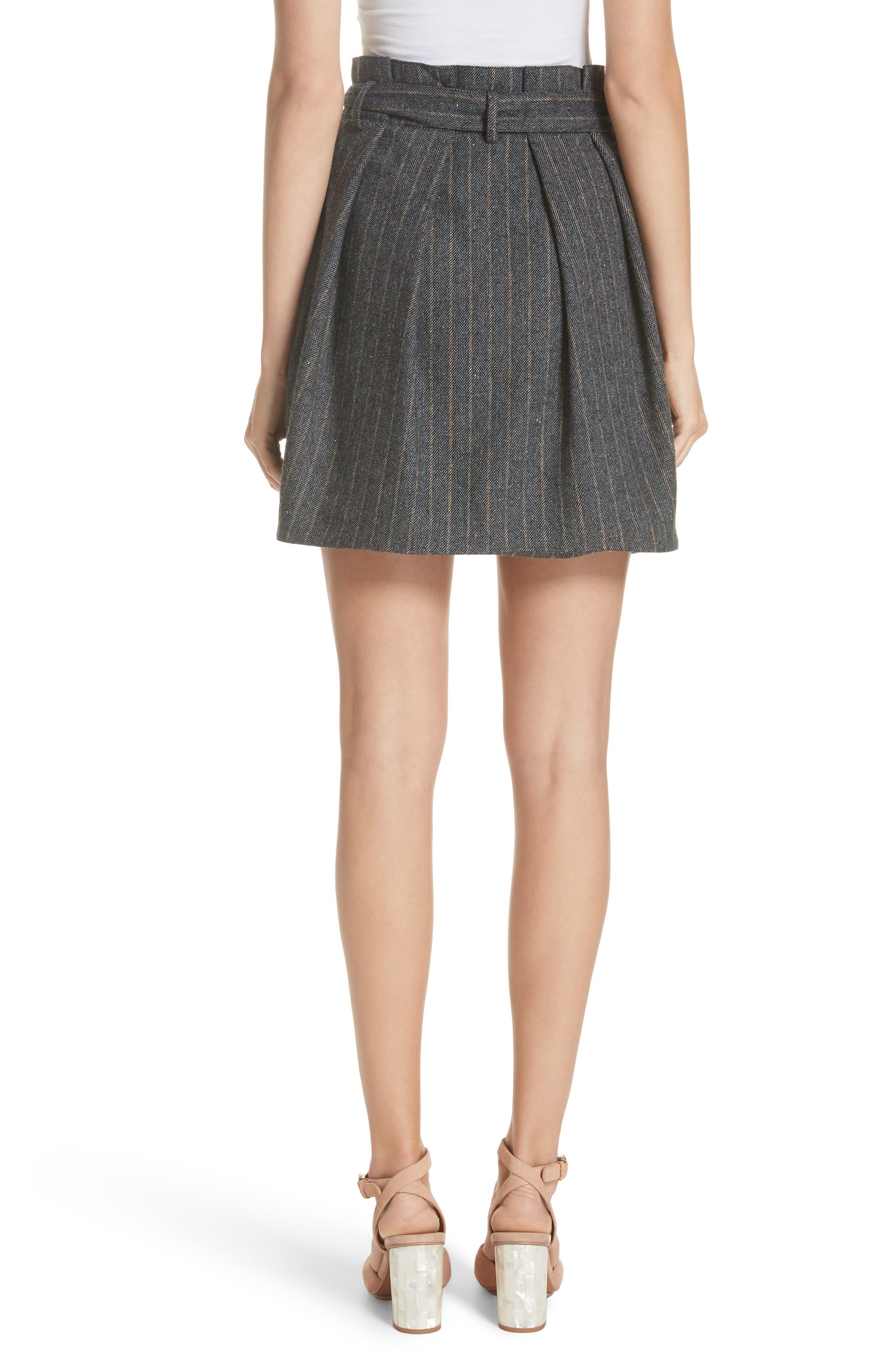 Leo Paperbag Waist Wool & Silk Blend Skirt,                             Alternate thumbnail 2, color,                             ASH