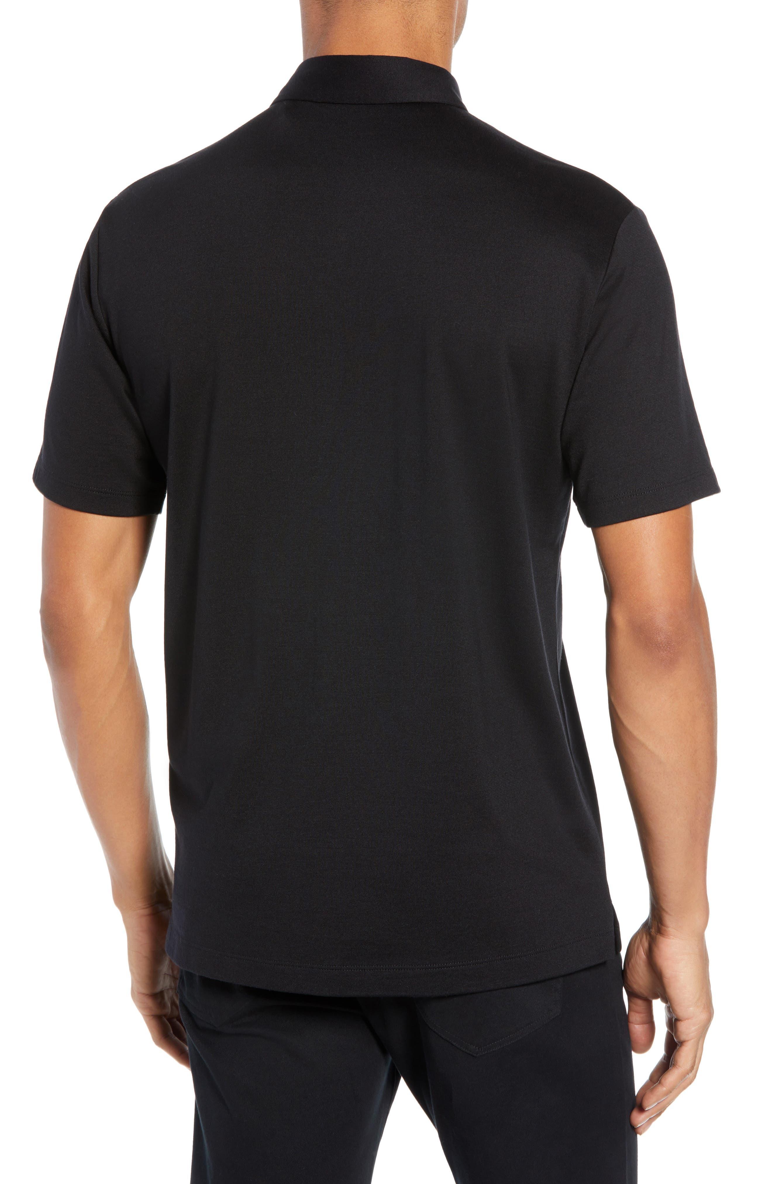 Incisi Slim Fit Knit Silk Blend Shirt,                             Alternate thumbnail 2, color,                             BLACK