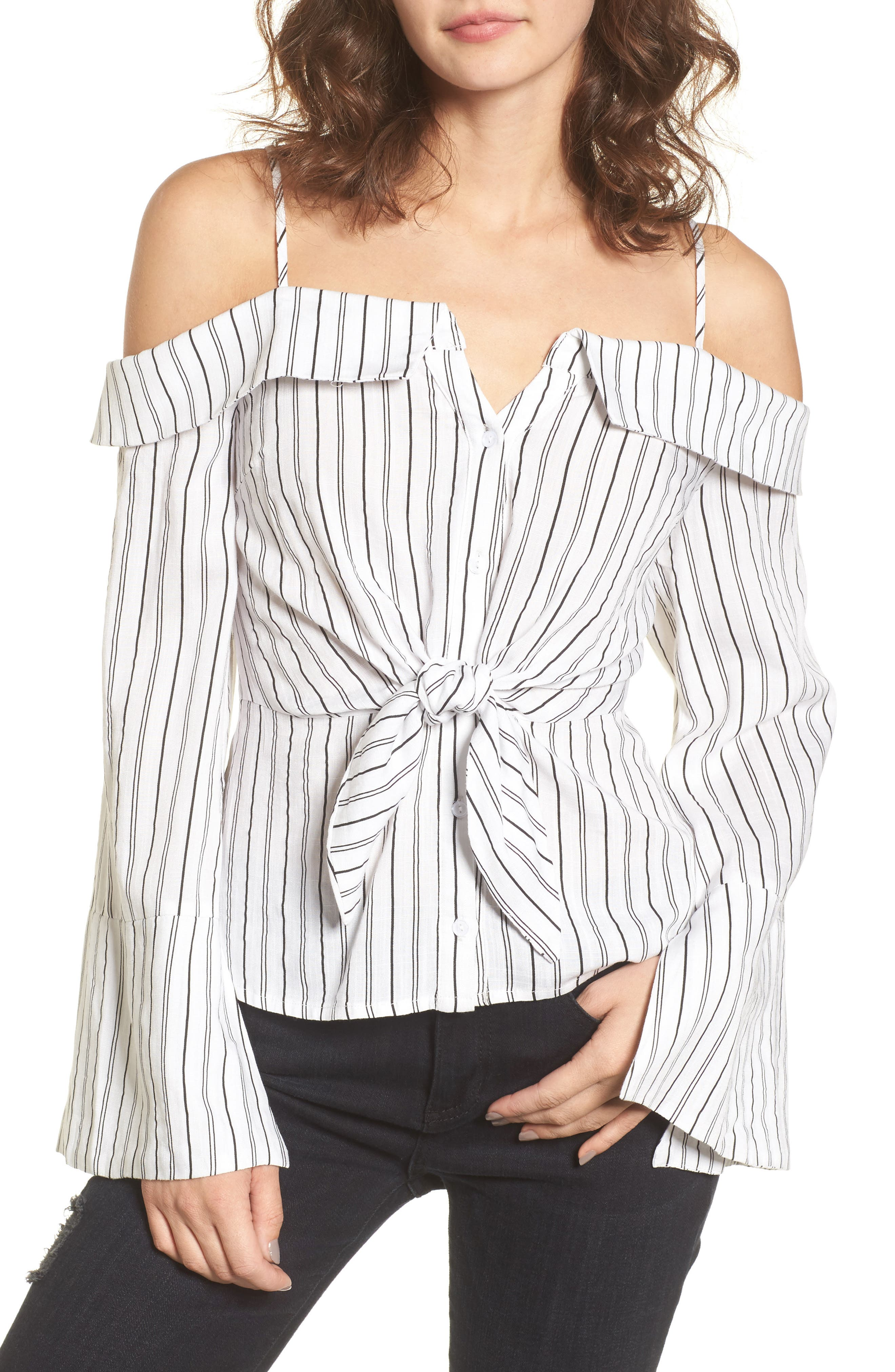 Stripe Tie Waist Off the Shoulder Shirt,                             Main thumbnail 1, color,                             100