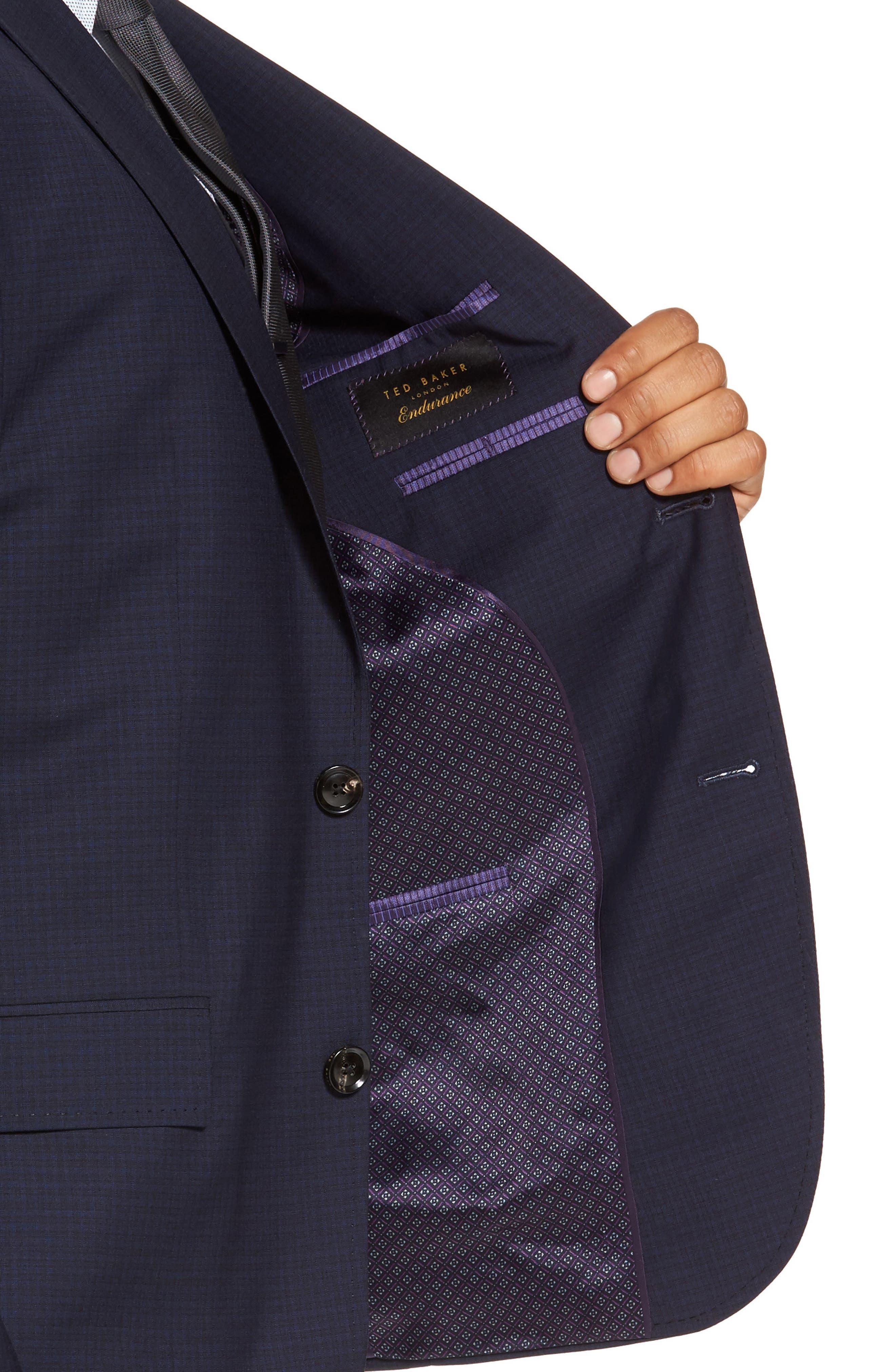 Roger Trim Fit Check Wool Suit,                             Alternate thumbnail 4, color,                             410