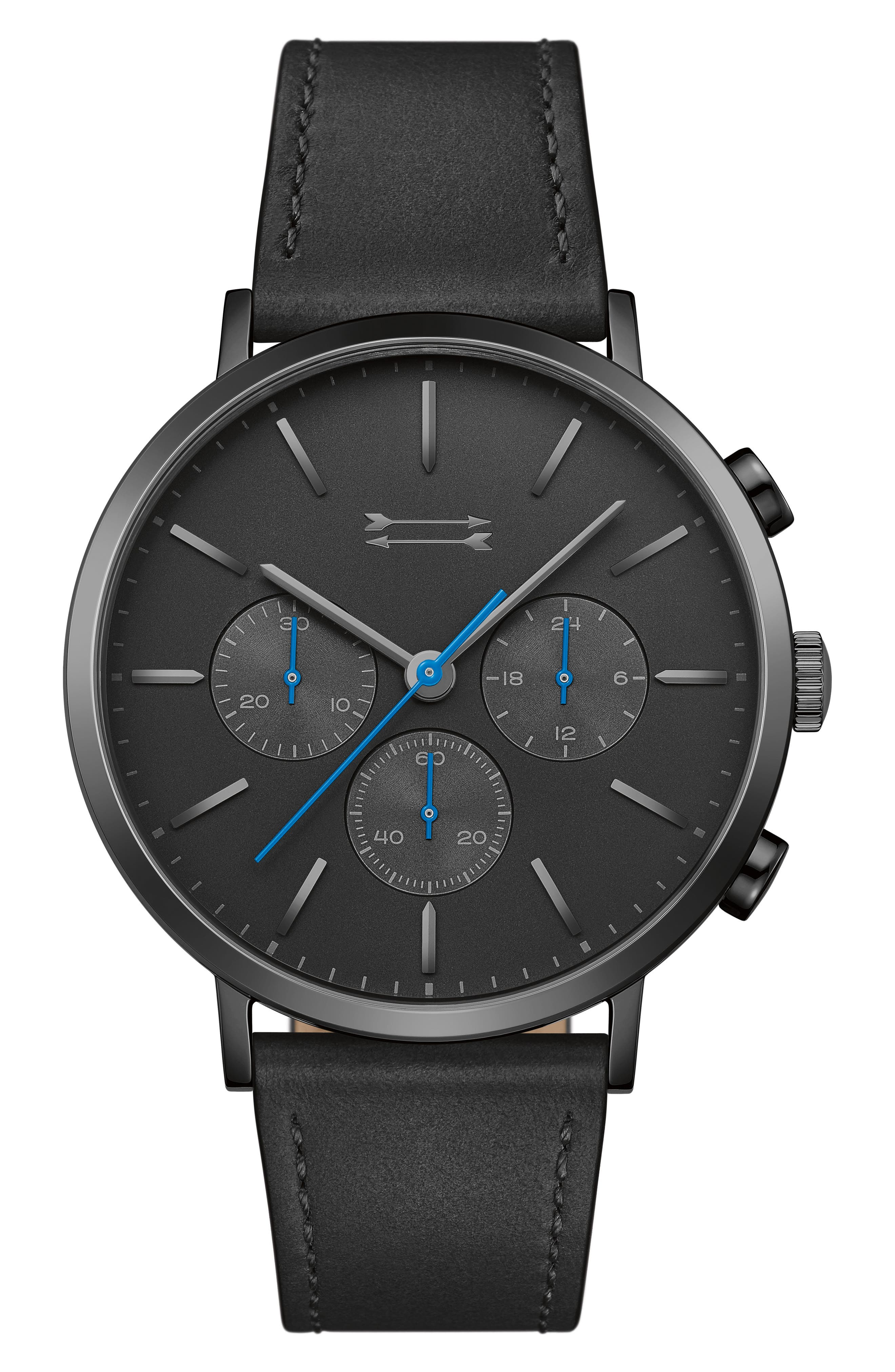 Griffith Leather Strap Watch, 43mm,                         Main,                         color, BLACK