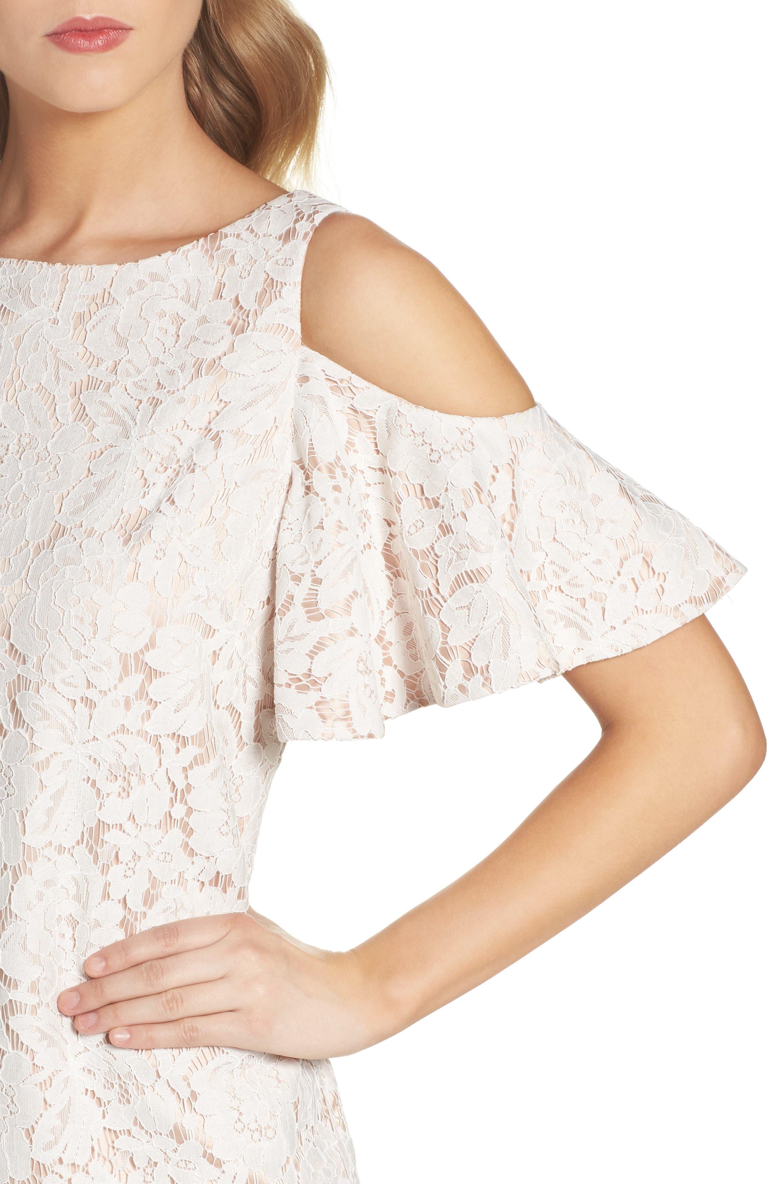 Cold Shoulder Lace Shift Dress,                             Alternate thumbnail 8, color,