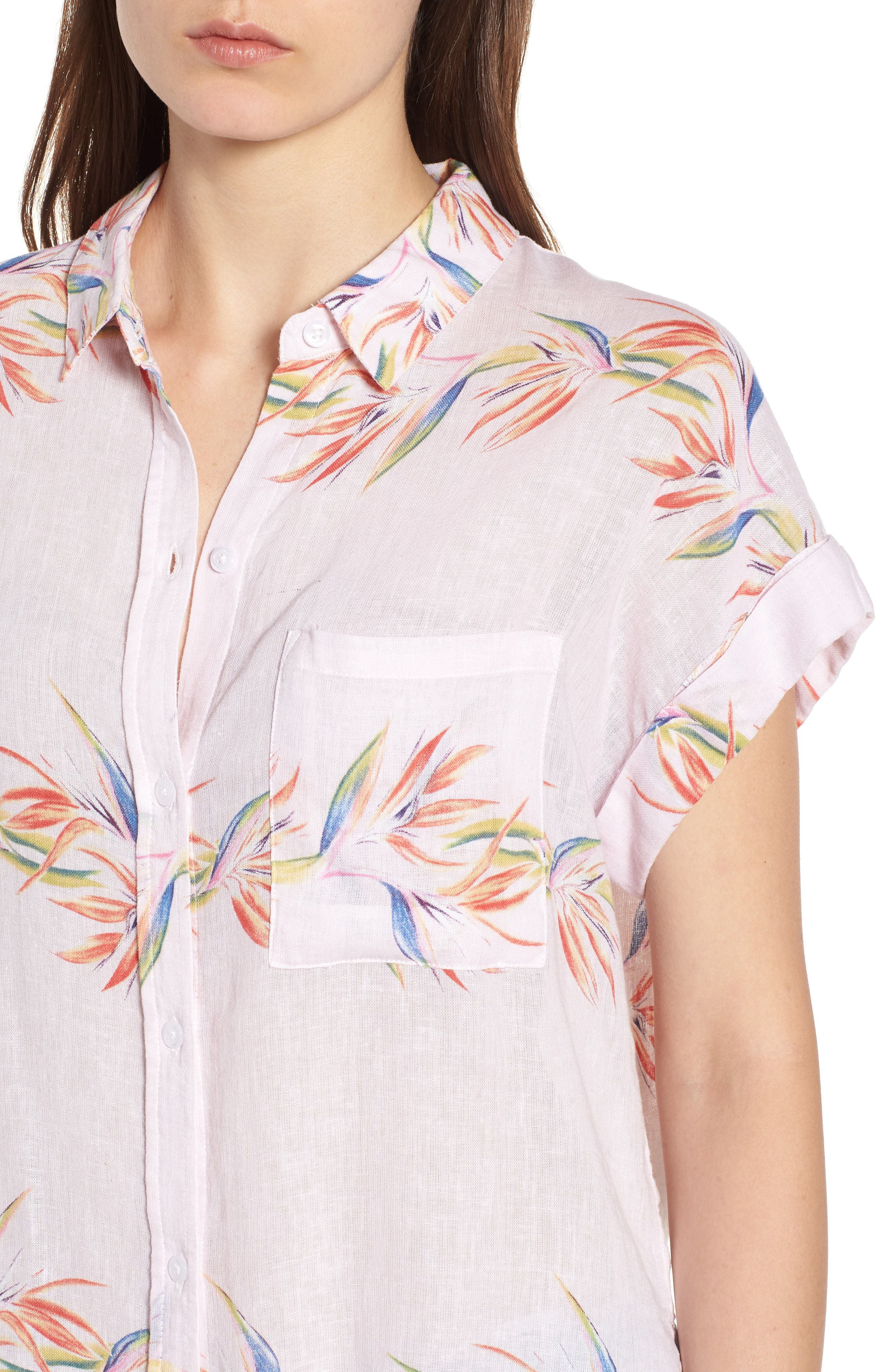 Whitney Print Shirt,                             Alternate thumbnail 4, color,                             BLUSH BIRDS OF PARADISE