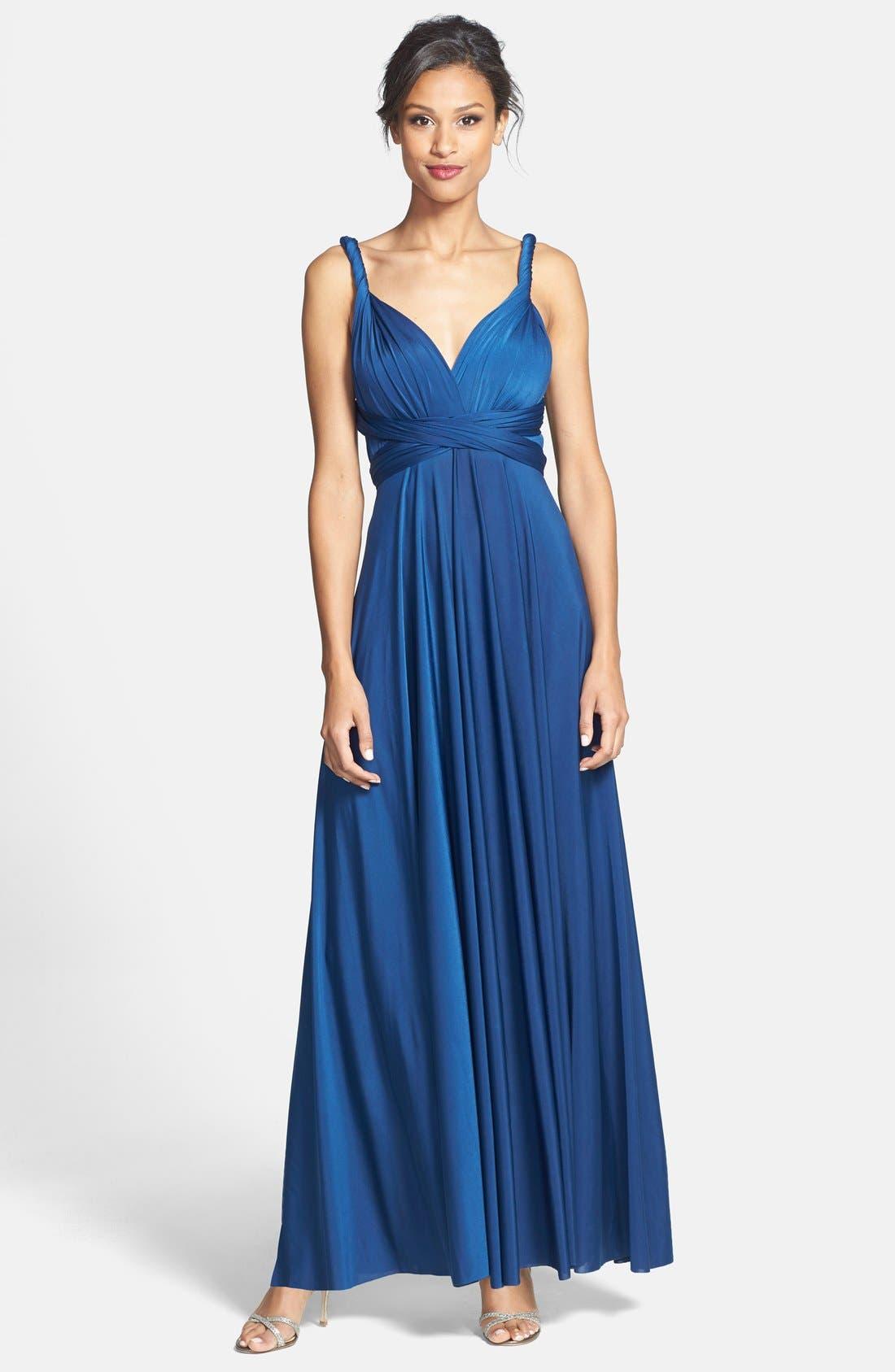 Convertible Wrap Tie Surplice Jersey Gown,                             Main thumbnail 3, color,