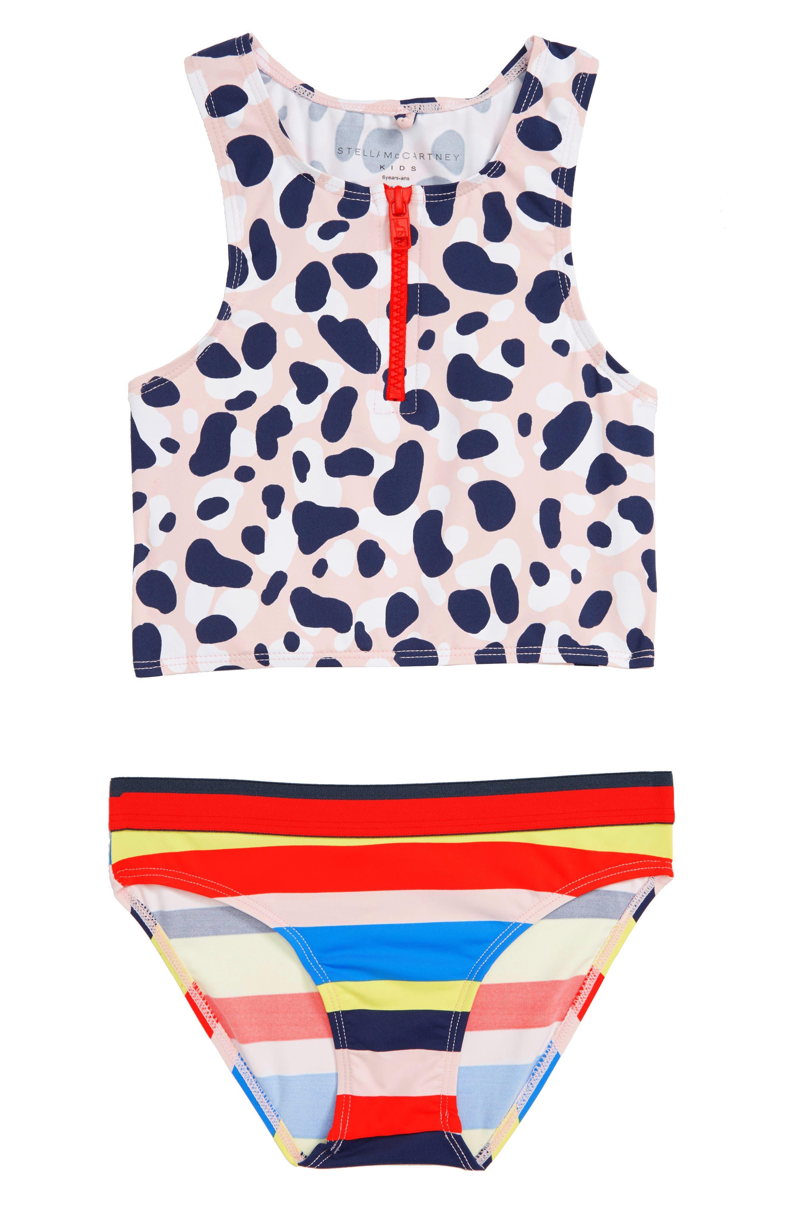 Stella McCartney Camo Print Two-Piece Swimsuit,                             Main thumbnail 1, color,                             MULTI