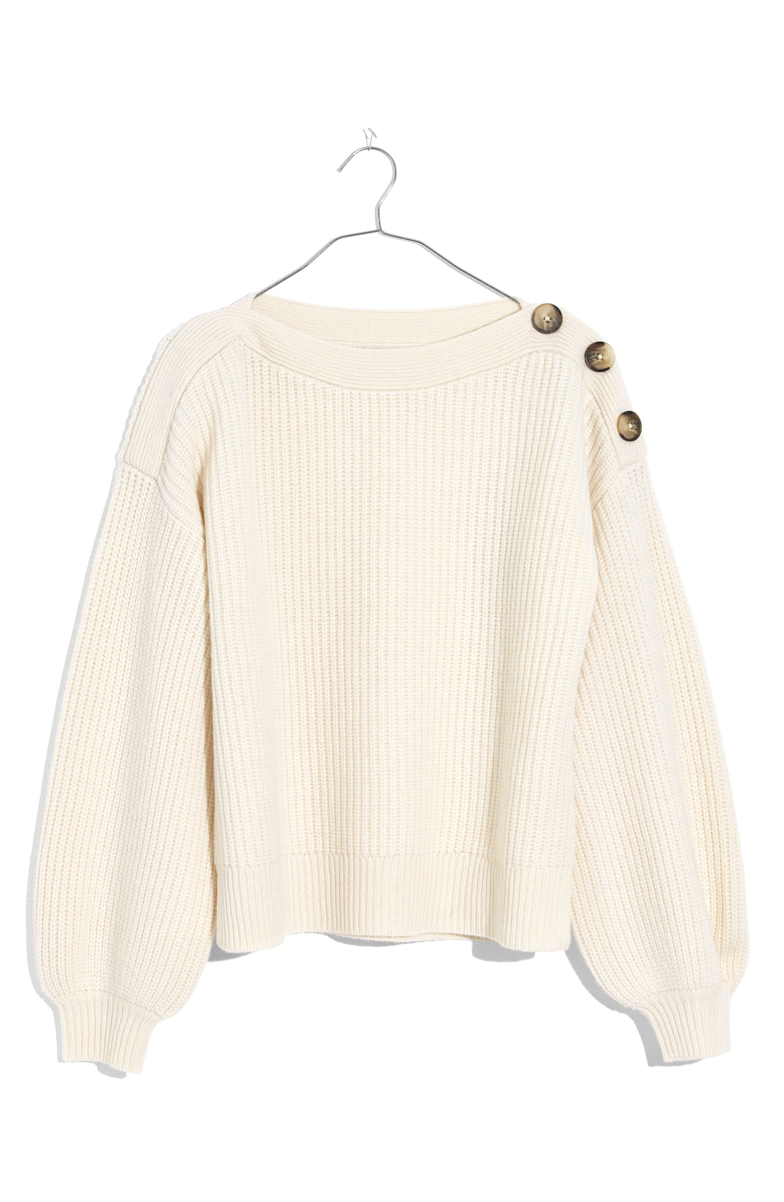 Boatneck Bubble Sleeve Sweater,                             Alternate thumbnail 4, color,                             100