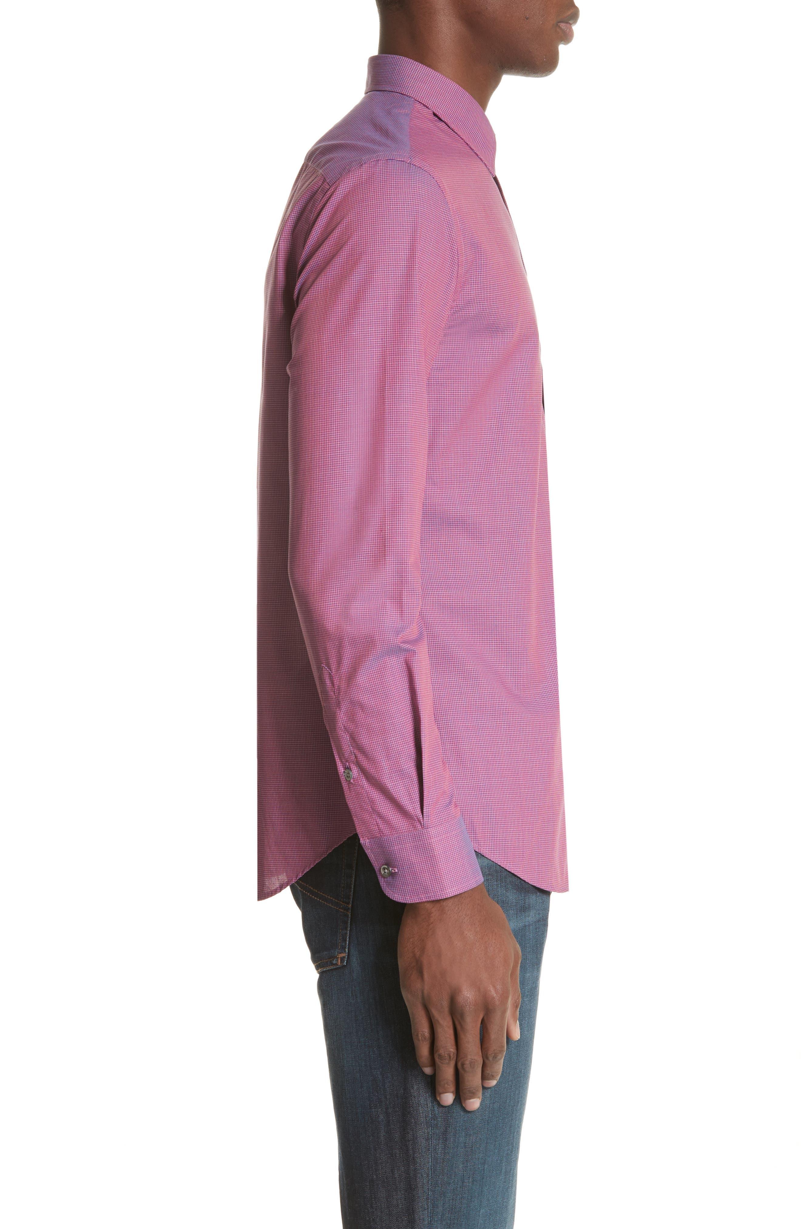 Microcheck Classic Fit Sport Shirt,                             Alternate thumbnail 3, color,                             600