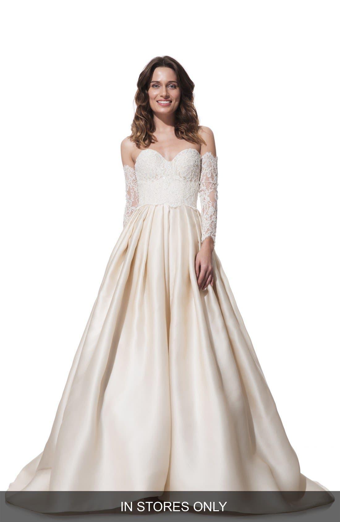 Clara Lace & Silk Organza Ballgown Dress,                             Main thumbnail 1, color,                             270