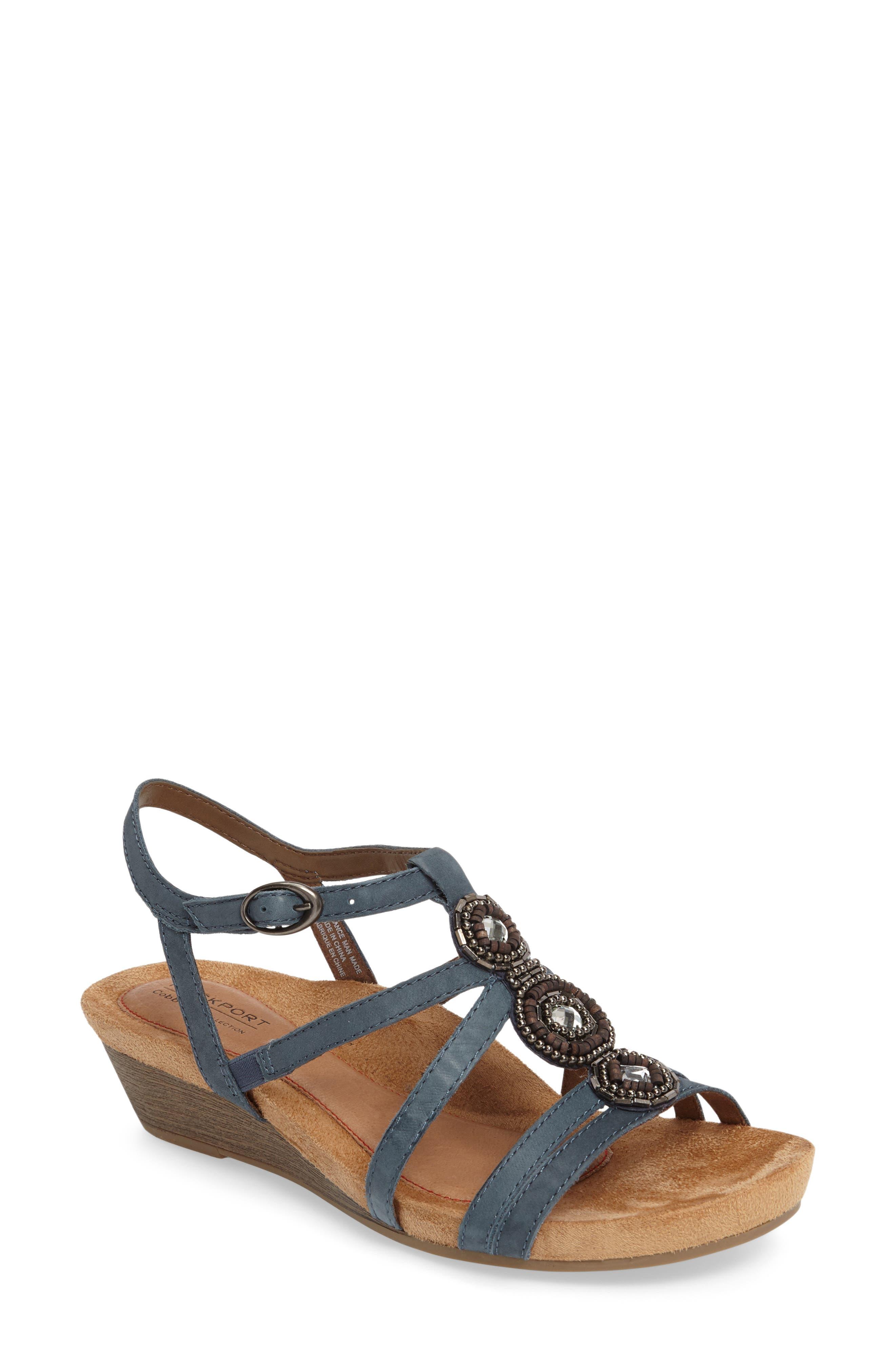 'Hannah' Leather Sandal,                             Main thumbnail 1, color,                             BLUE NUBUCK