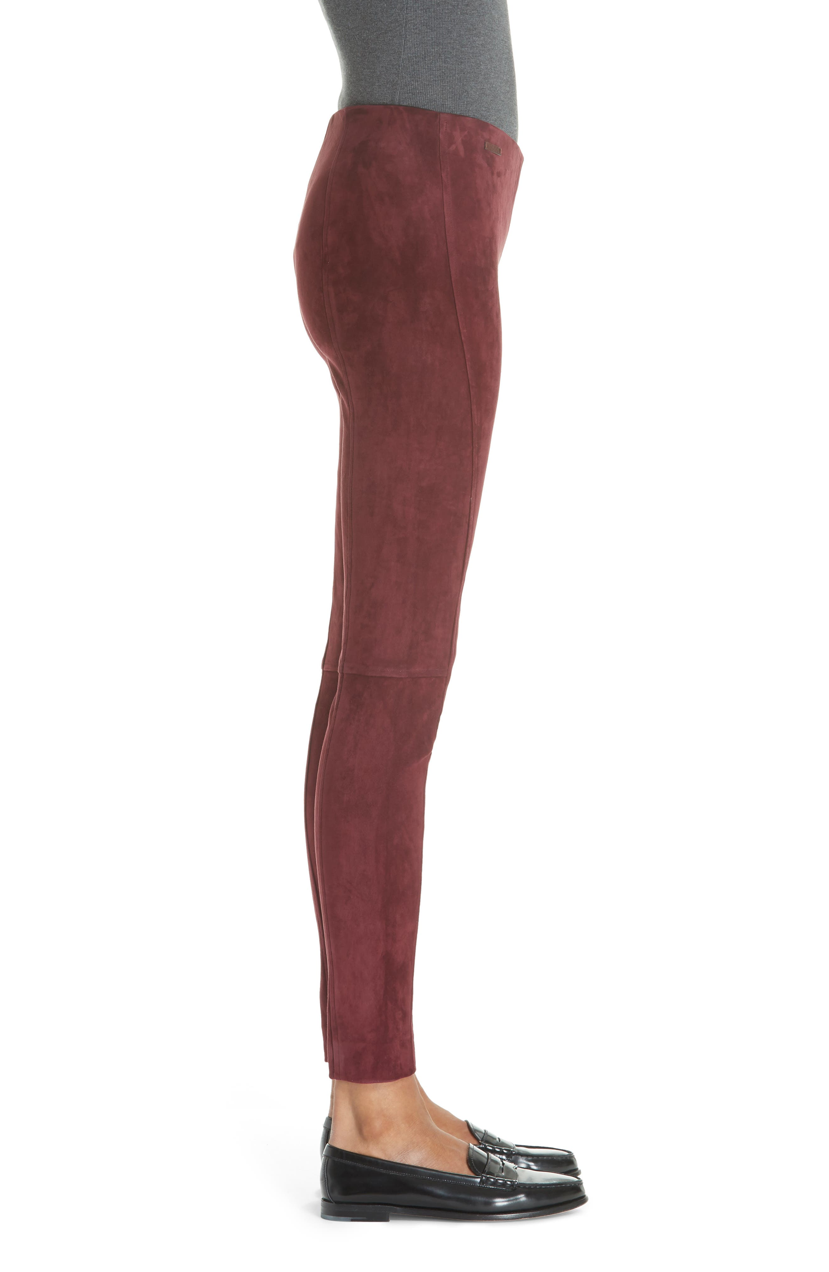 POLO RALPH LAUREN,                             Pull-On Skinny Suede Pants,                             Alternate thumbnail 3, color,                             930