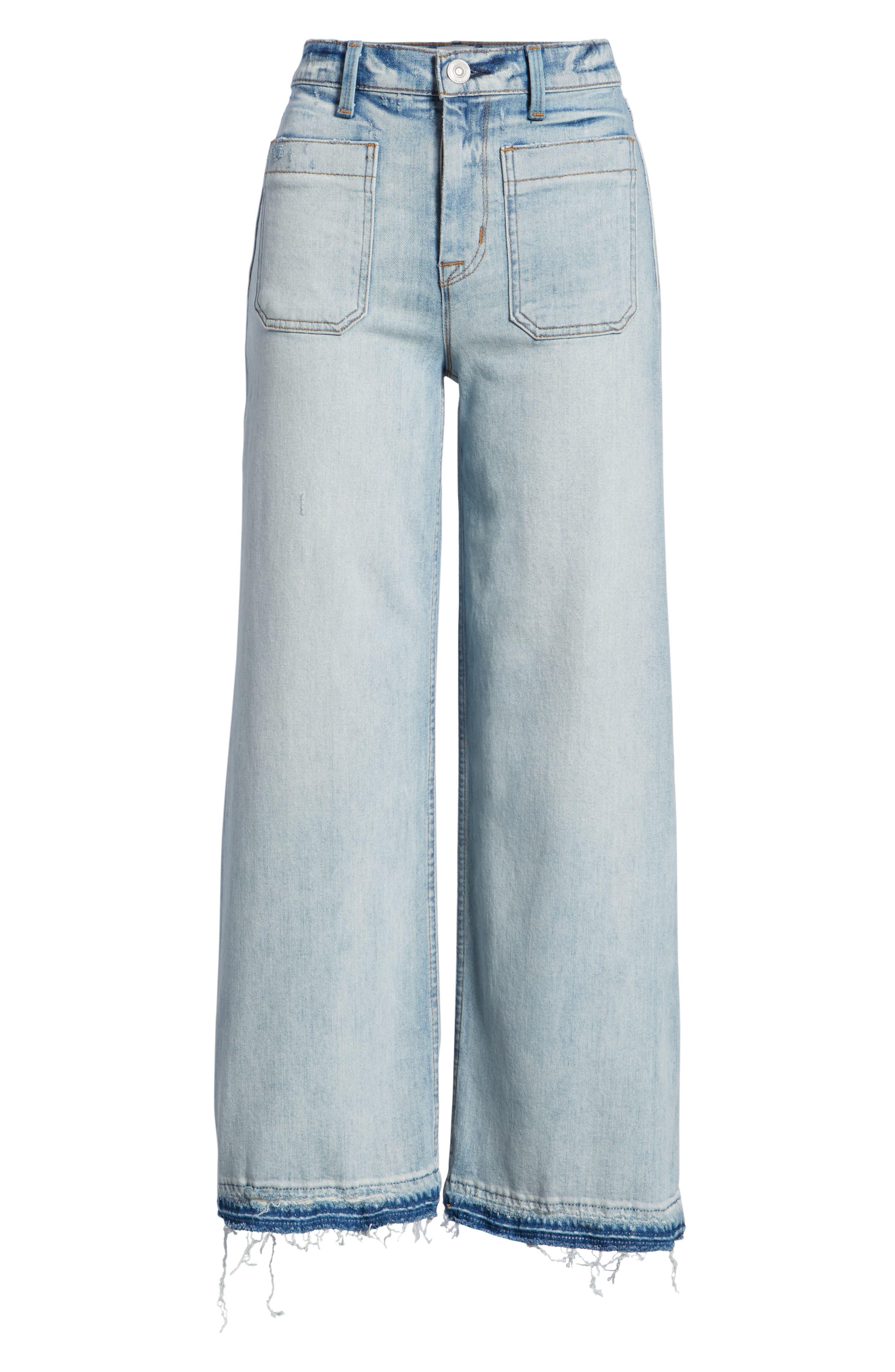 Holly High Waist Released Hem Crop Wide Leg Jeans,                             Alternate thumbnail 7, color,                             460