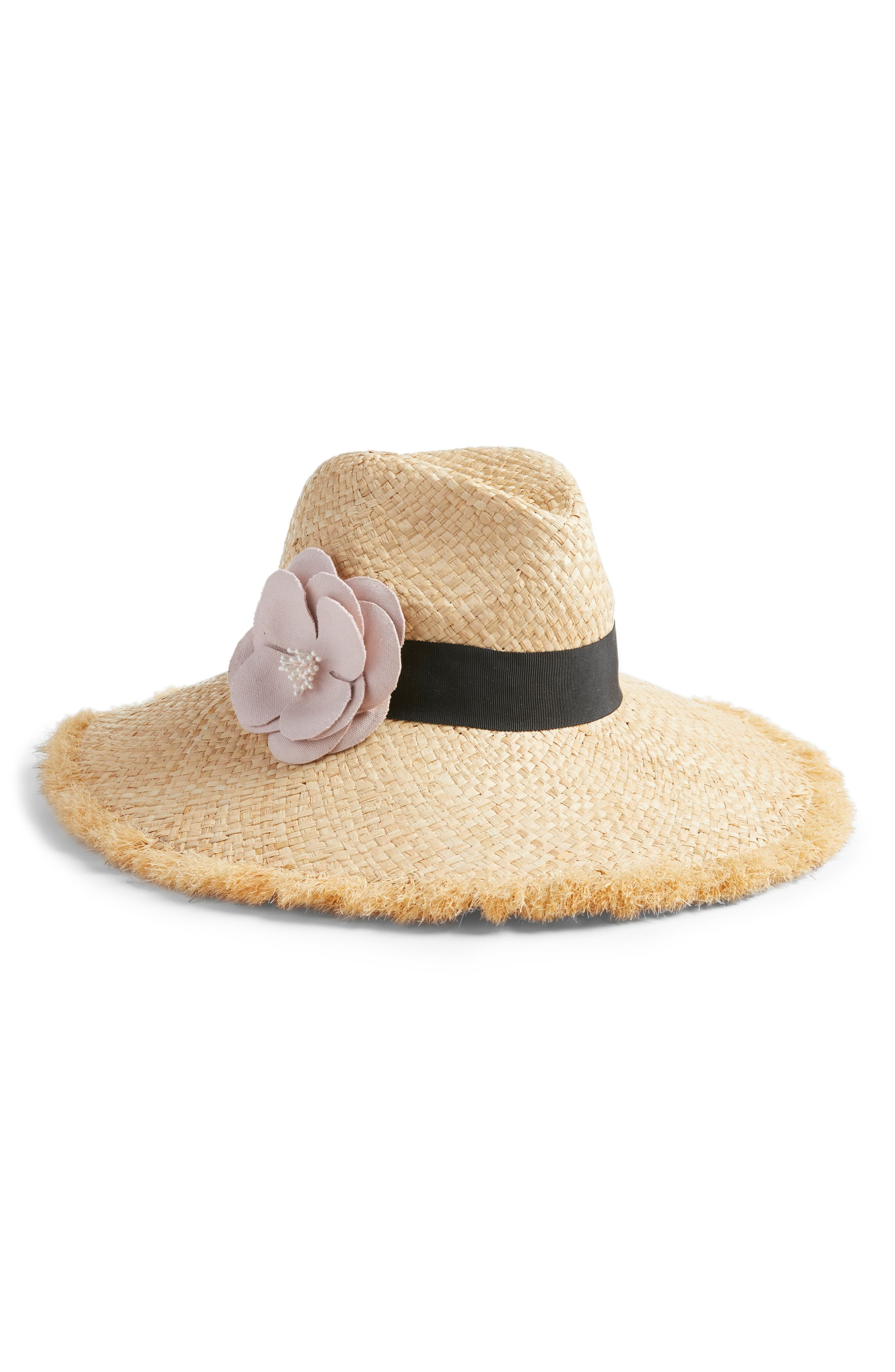 wide brim straw fedora with flower,                         Main,                         color, 650