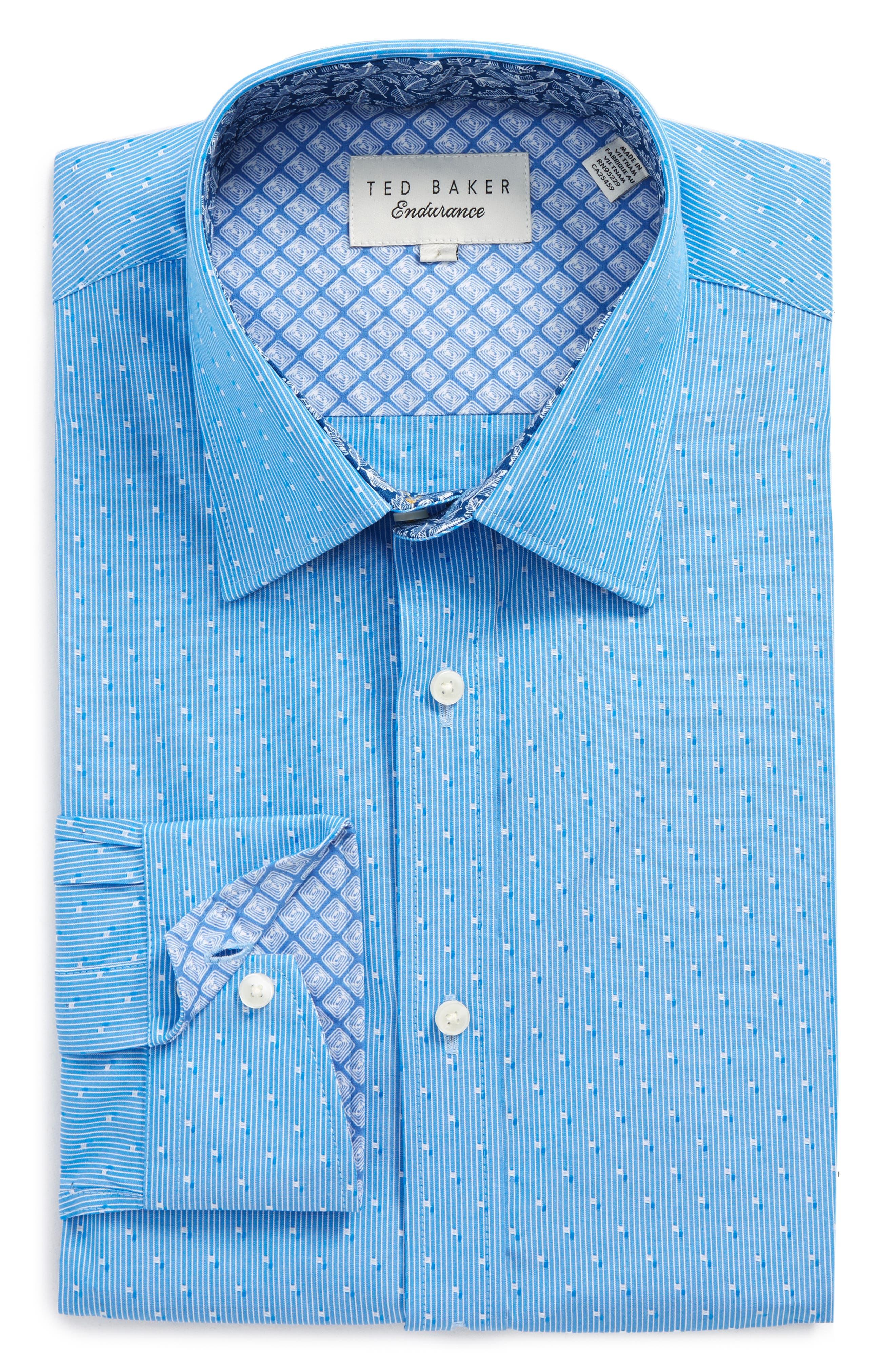 Steam Trim Fit Stripe Dress Shirt,                             Main thumbnail 1, color,