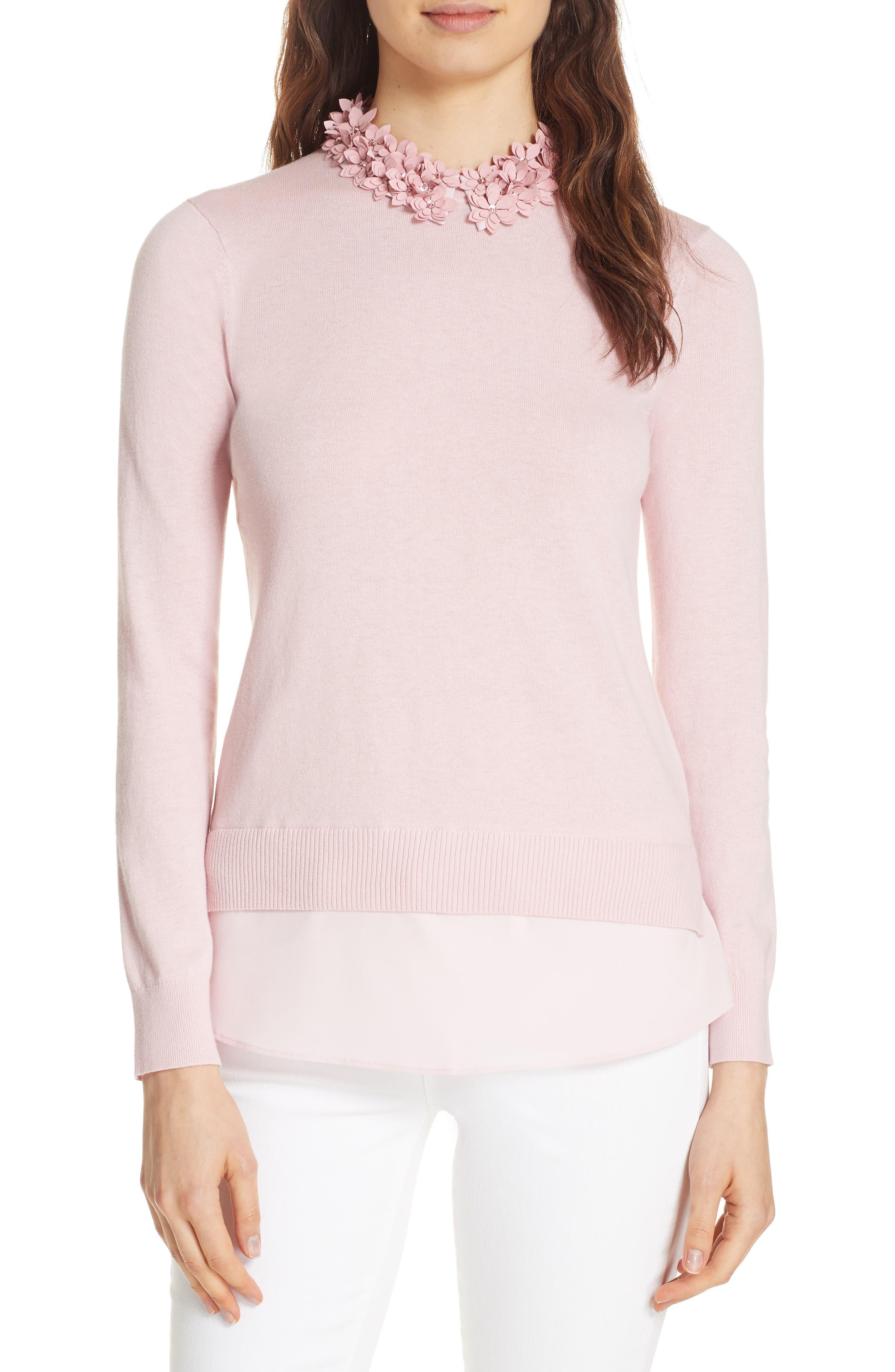 Nansea Floral Collar Tiered Hem Sweater,                         Main,                         color, PINK