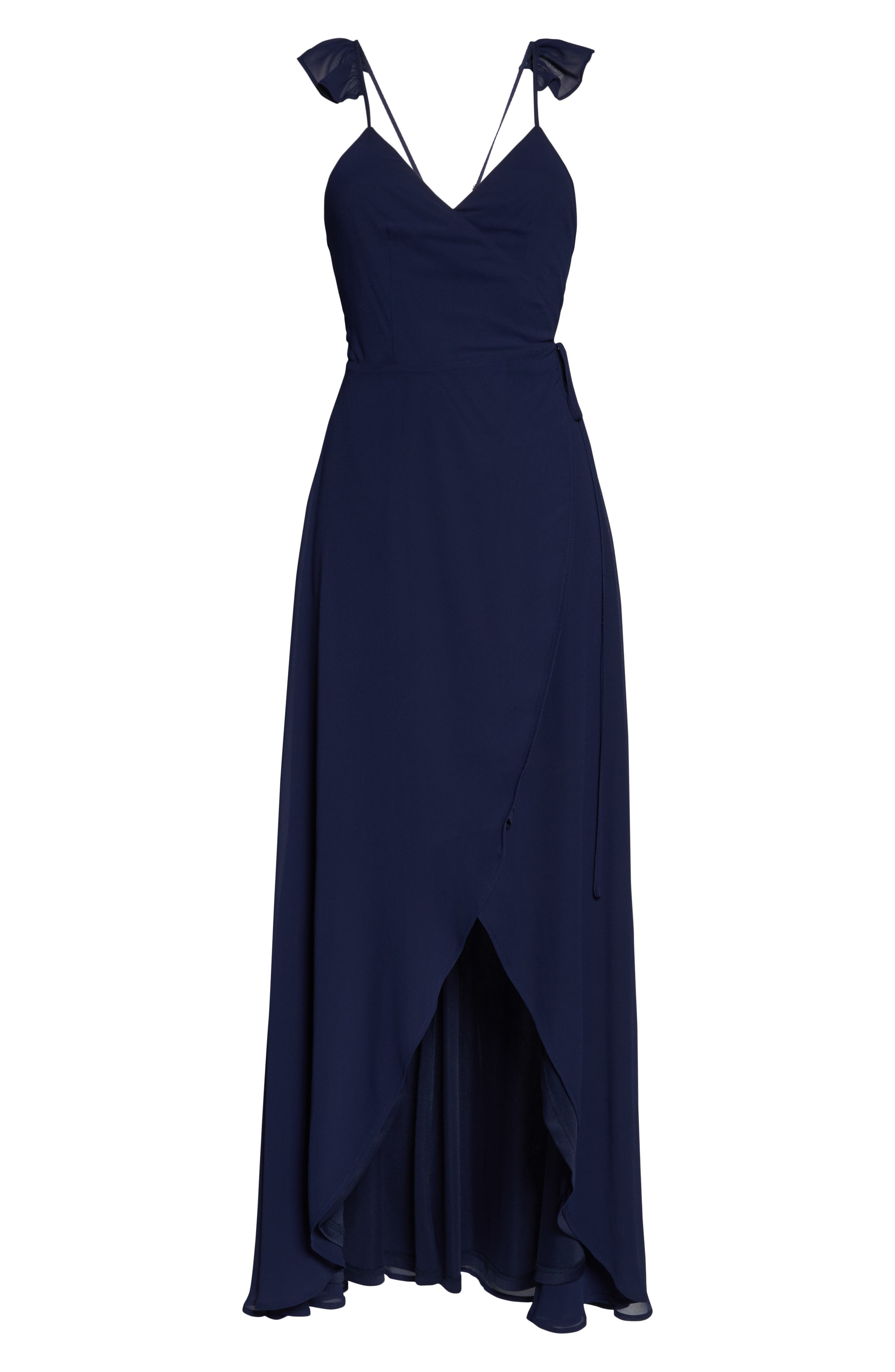 LULUS,                             Here's to Us High/Low Wrap Evening Dress,                             Alternate thumbnail 7, color,                             NAVY