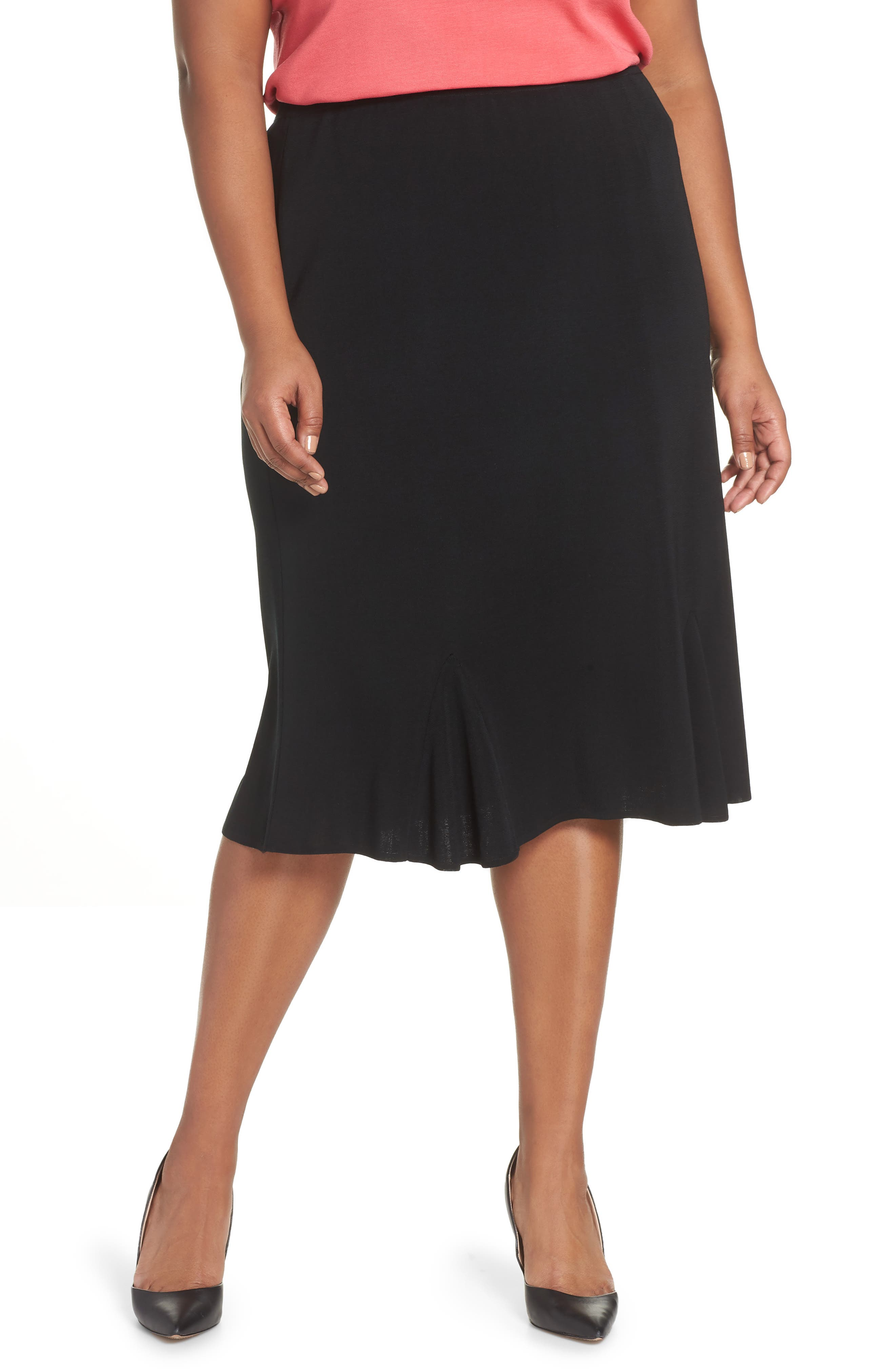 Gore Flare Skirt,                         Main,                         color, BLACK