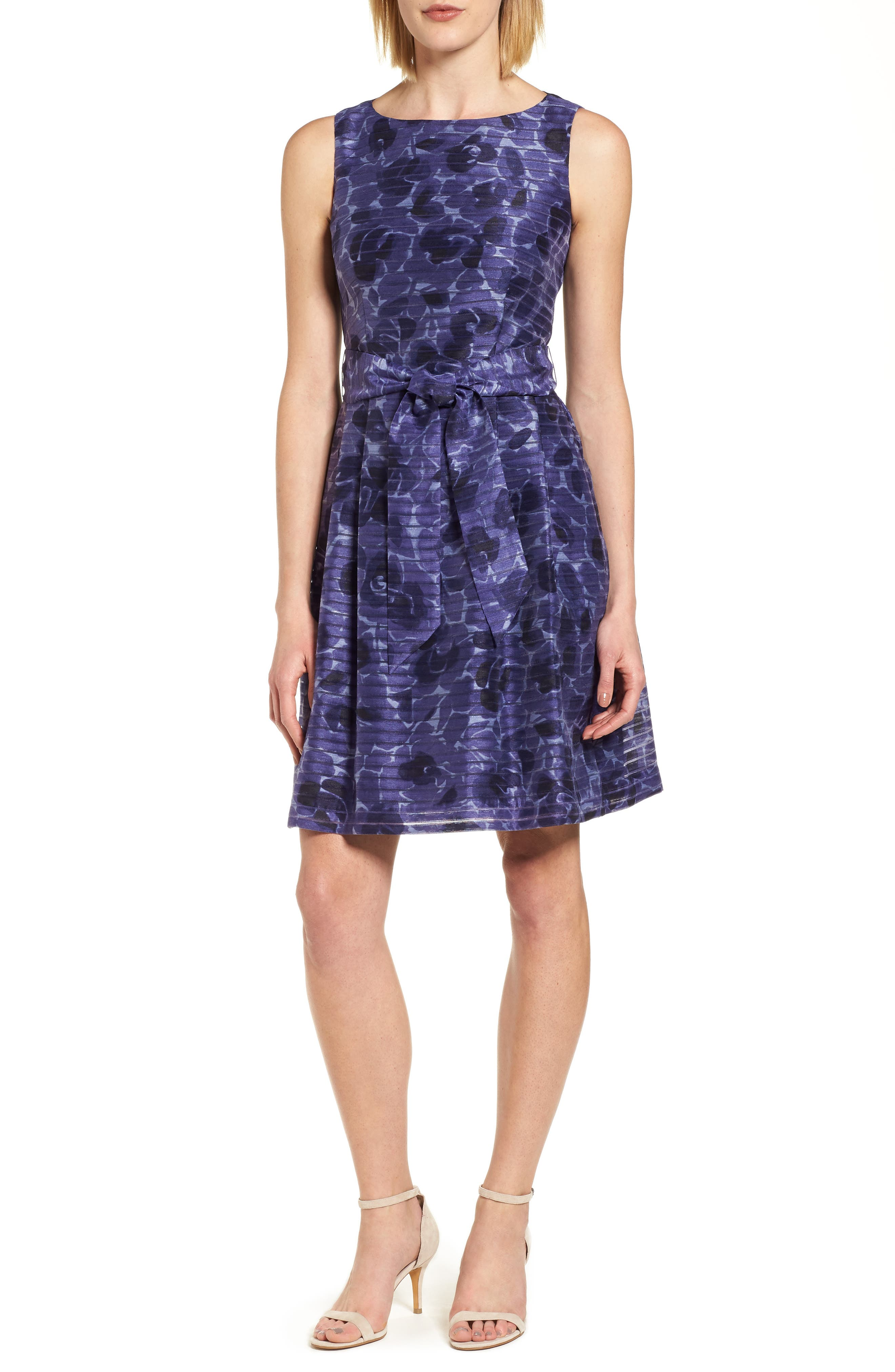 Rosewater Shadow Fit & Flare Dress,                         Main,                         color, 410