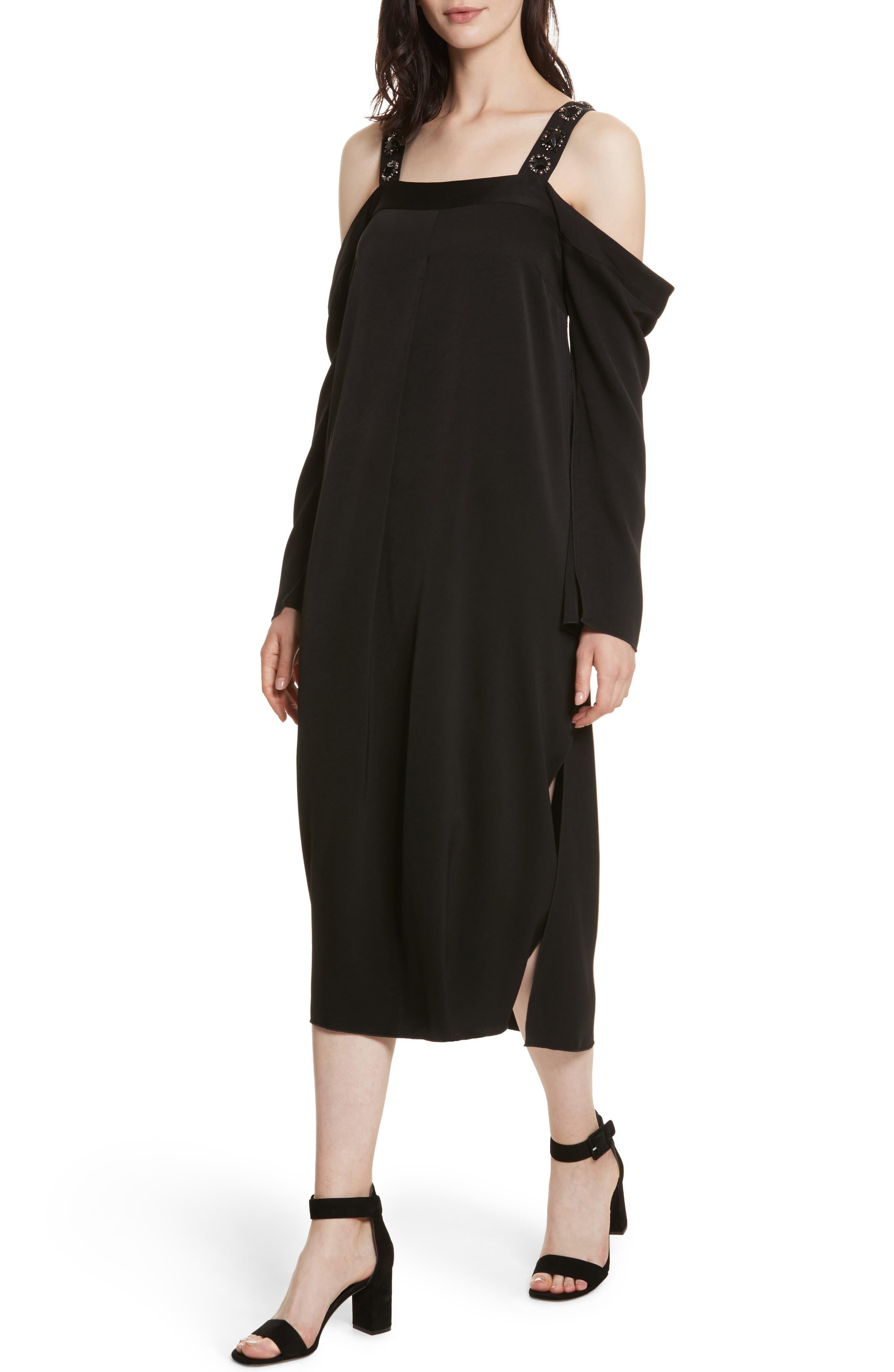 Fynn Embellished Cold Shoulder Midi Dress,                             Alternate thumbnail 4, color,                             001