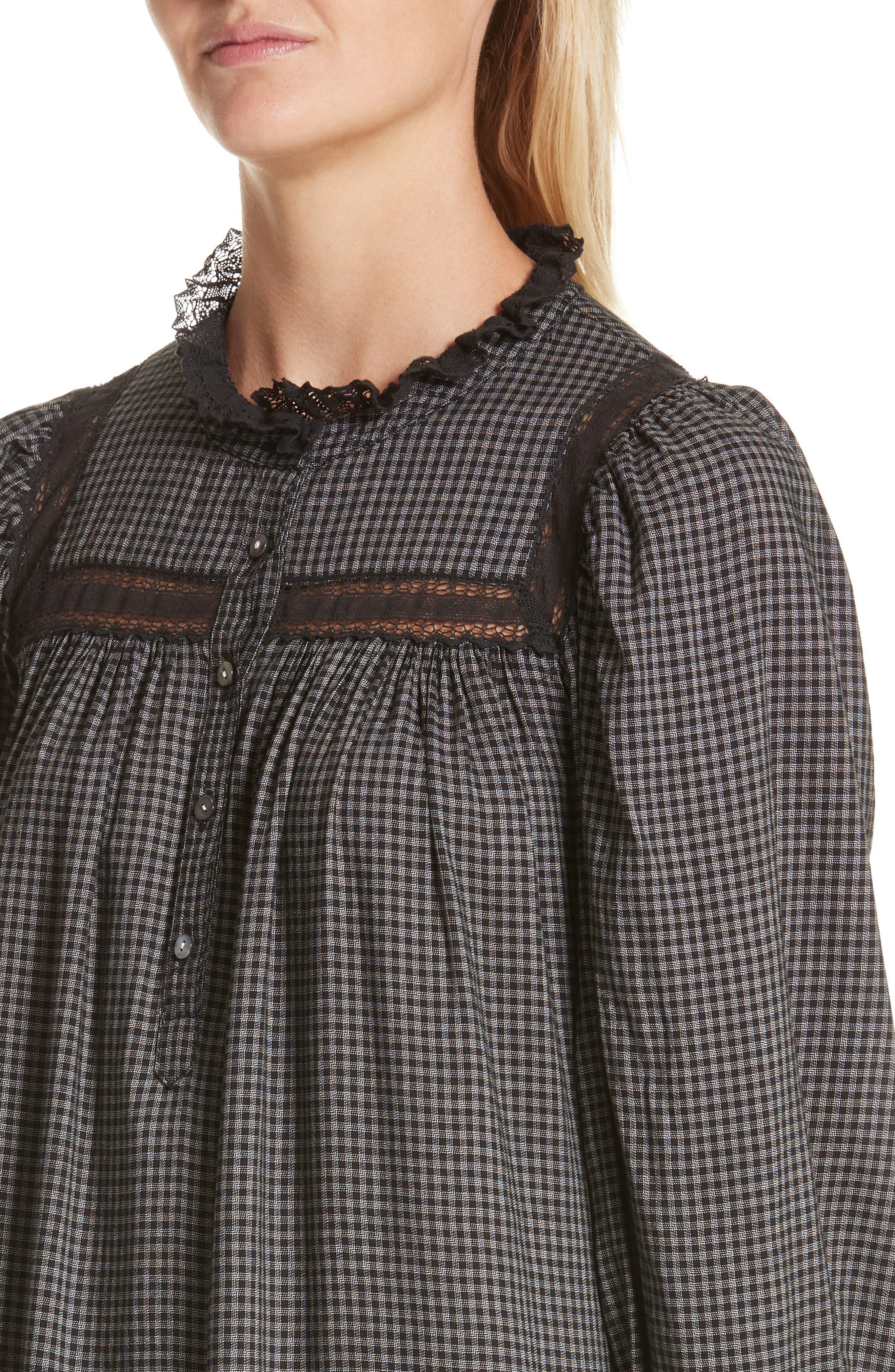 Drop Waist Plaid Dress,                             Alternate thumbnail 4, color,