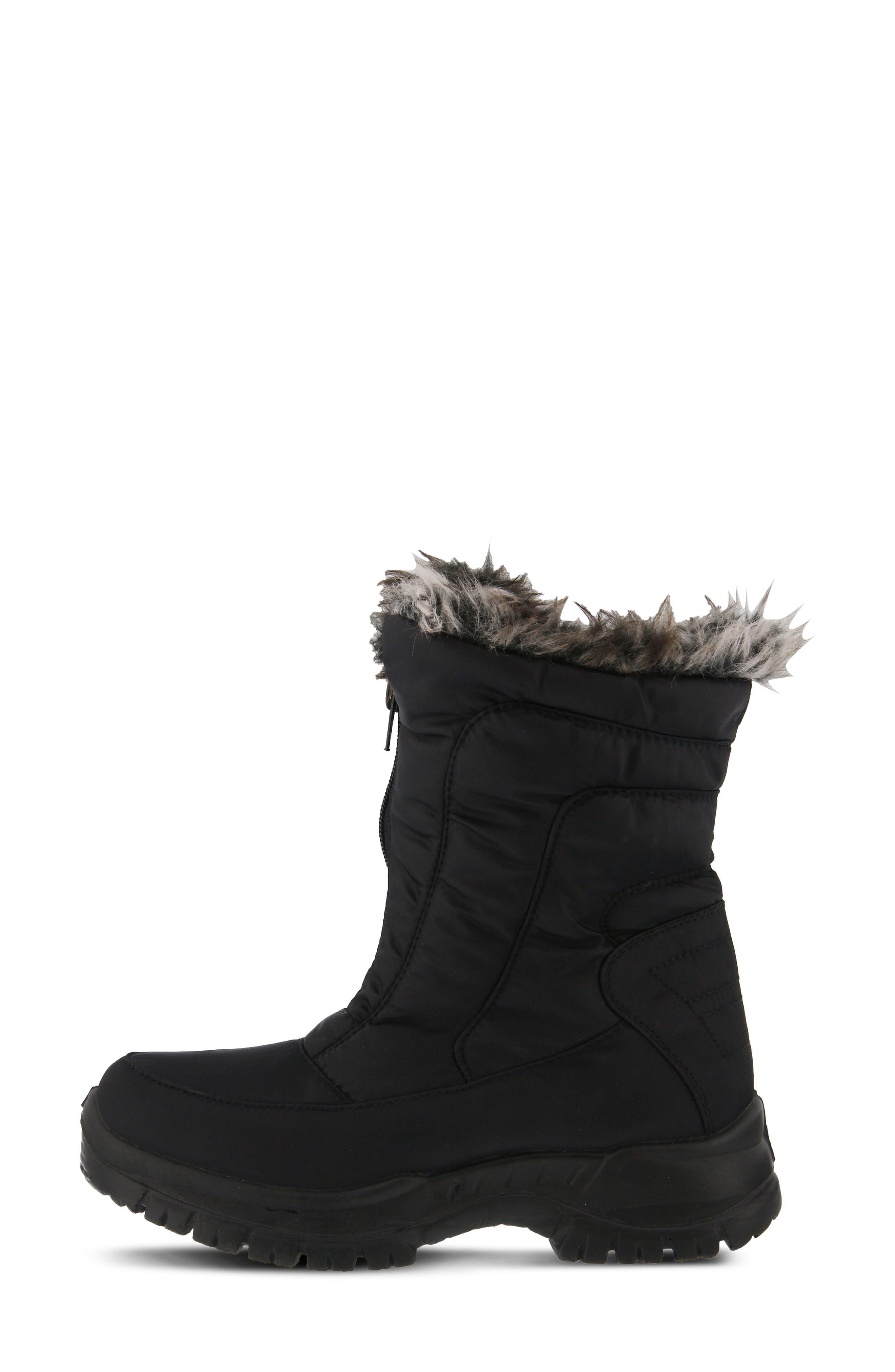 SPRING STEP,                             Zigzag Waterproof Faux Fur Bootie,                             Alternate thumbnail 6, color,                             BLACK FABRIC