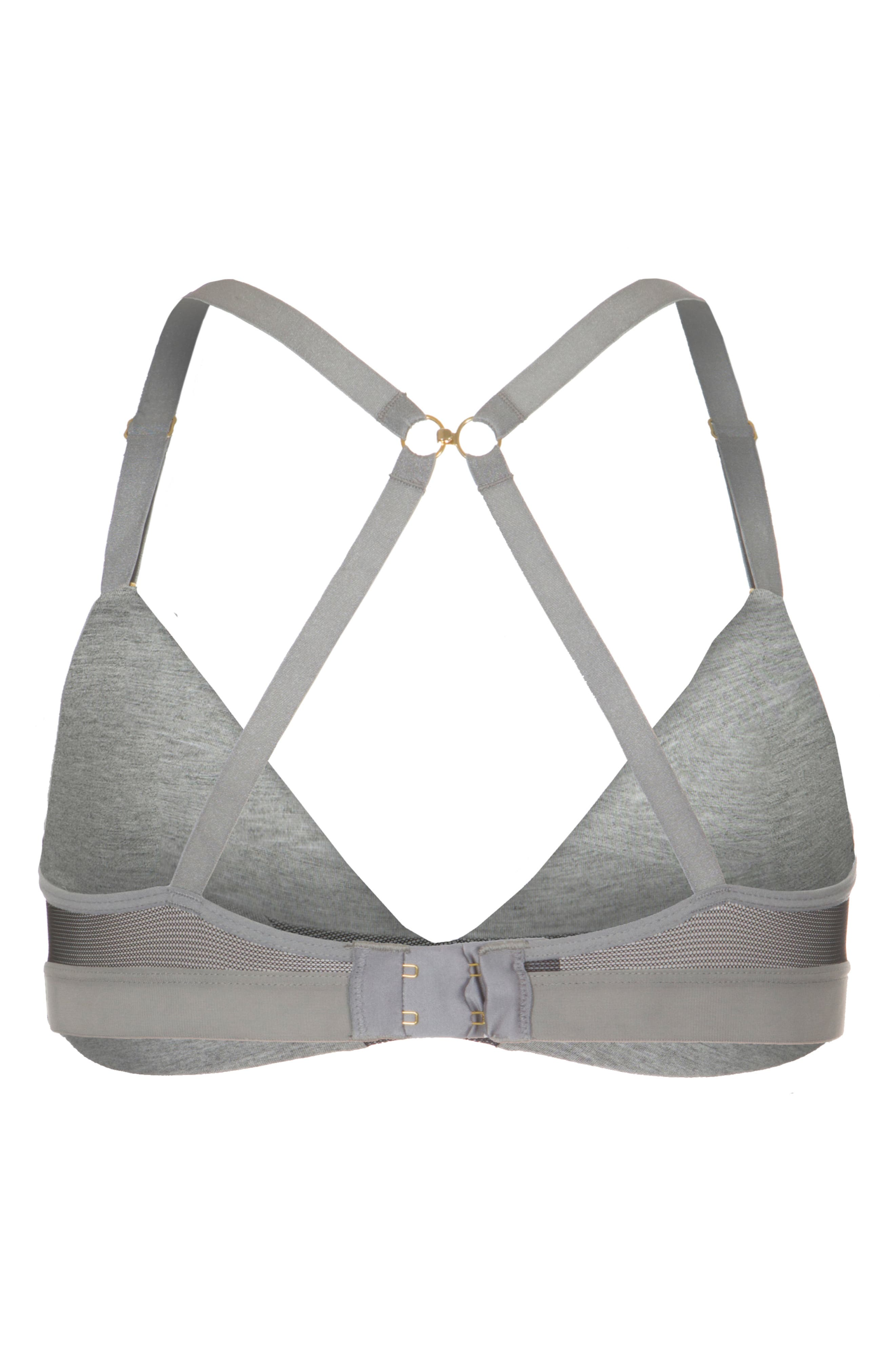 The All Day Deep-V No-Wire Colorblock Bra,                             Alternate thumbnail 4, color,                             HEATHER GREY JET BLACK