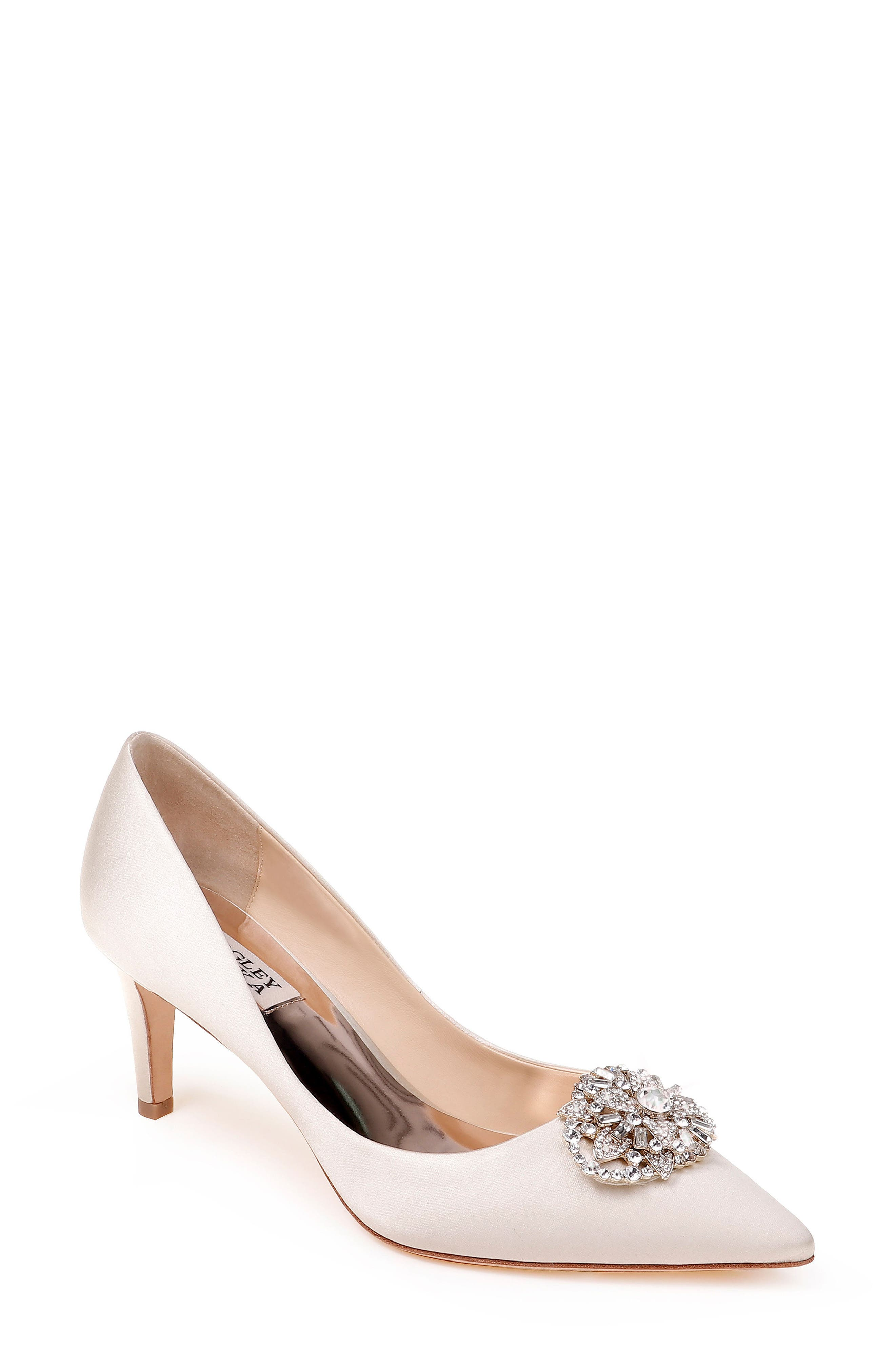 Sunshine Embellished Pump,                             Main thumbnail 1, color,                             IVORY SATIN