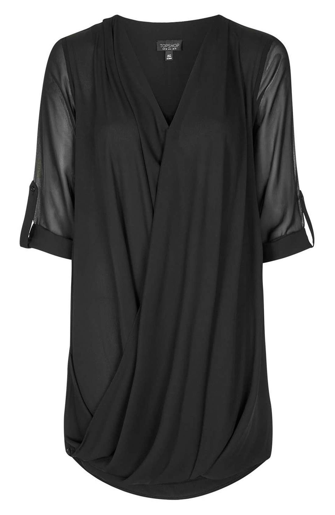 Chiffon Drape Tunic Dress,                             Alternate thumbnail 3, color,                             001