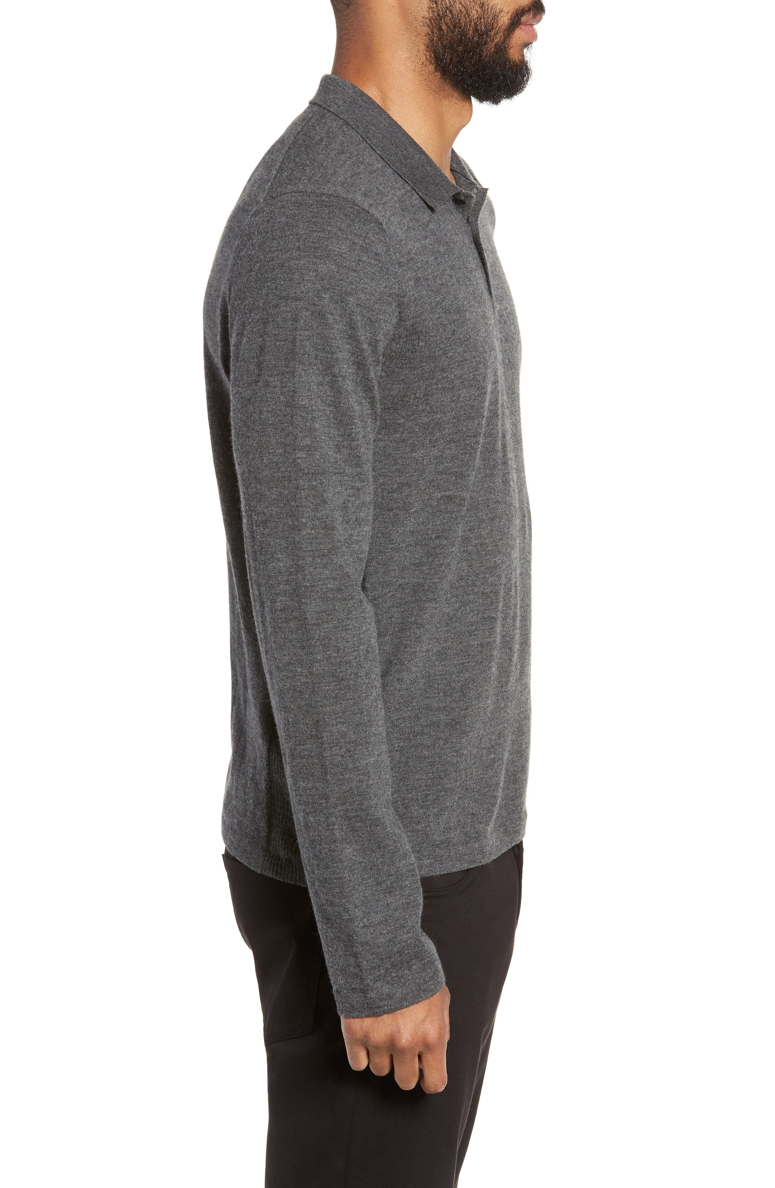 Regular Fit Long Sleeve Wool & Cashmere Polo,                             Alternate thumbnail 3, color,                             020
