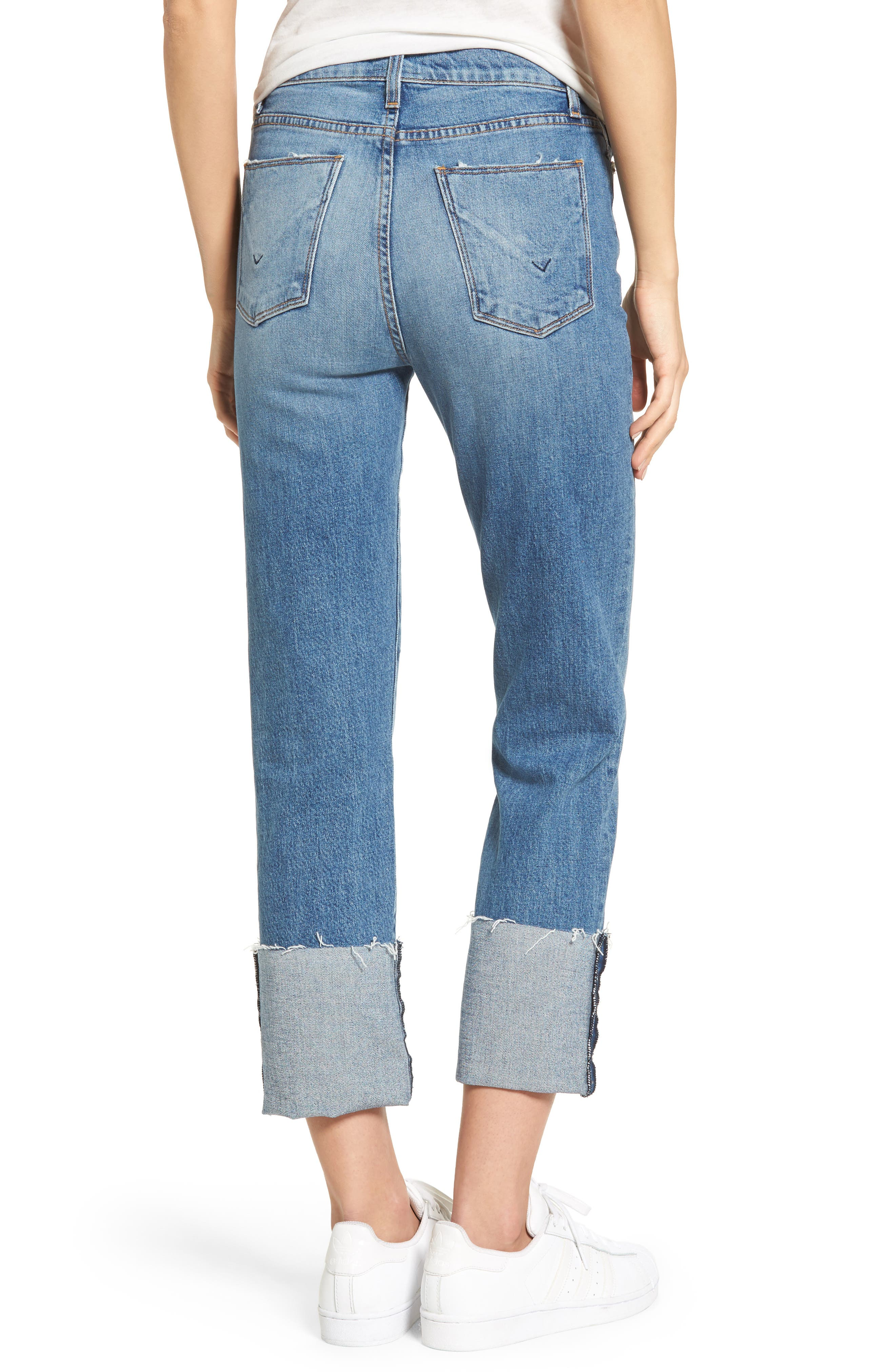 Zoeey High Waist Crop Straight Leg Jeans,                             Alternate thumbnail 7, color,