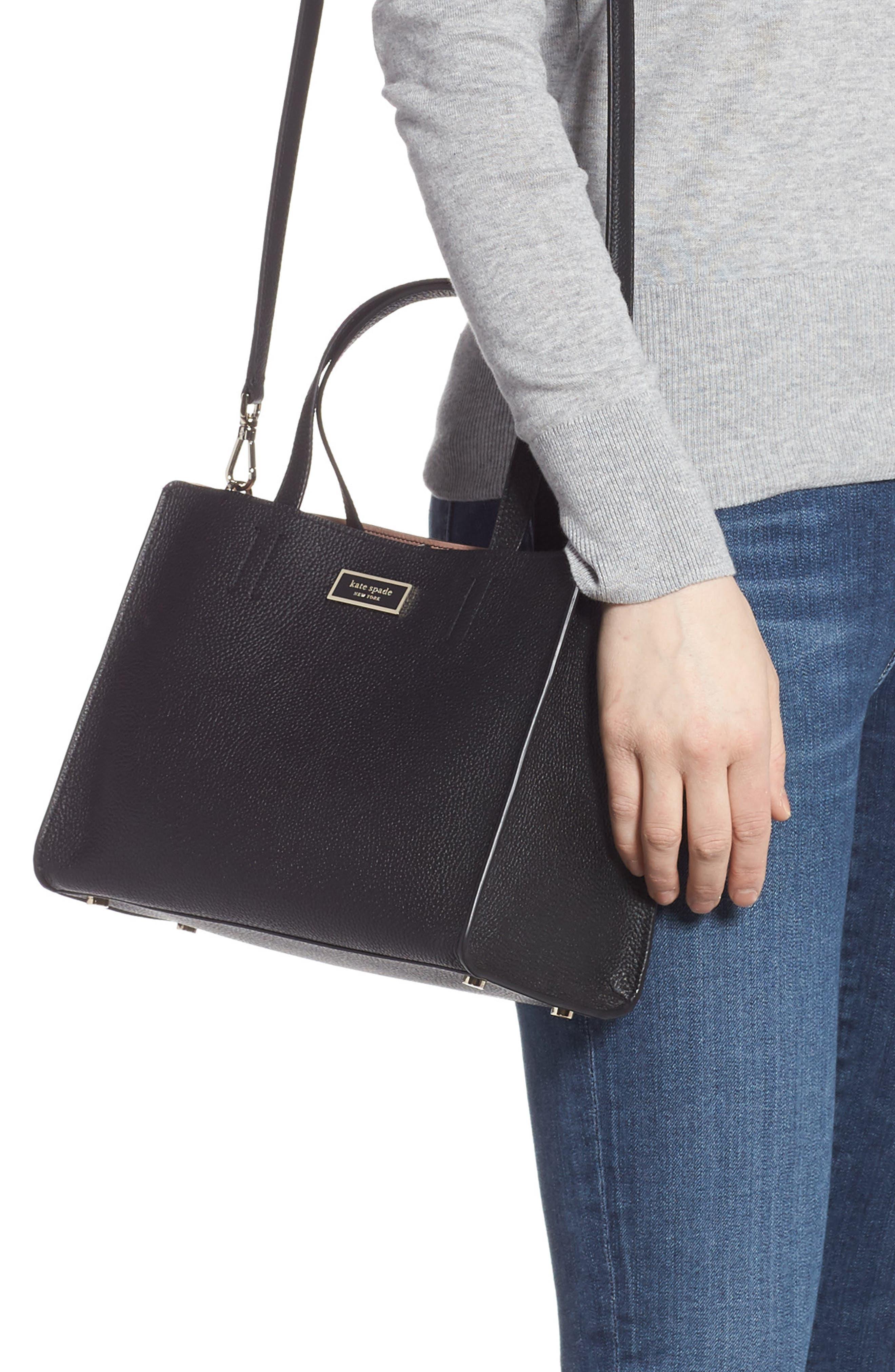 medium sam leather satchel,                             Alternate thumbnail 2, color,                             BLACK