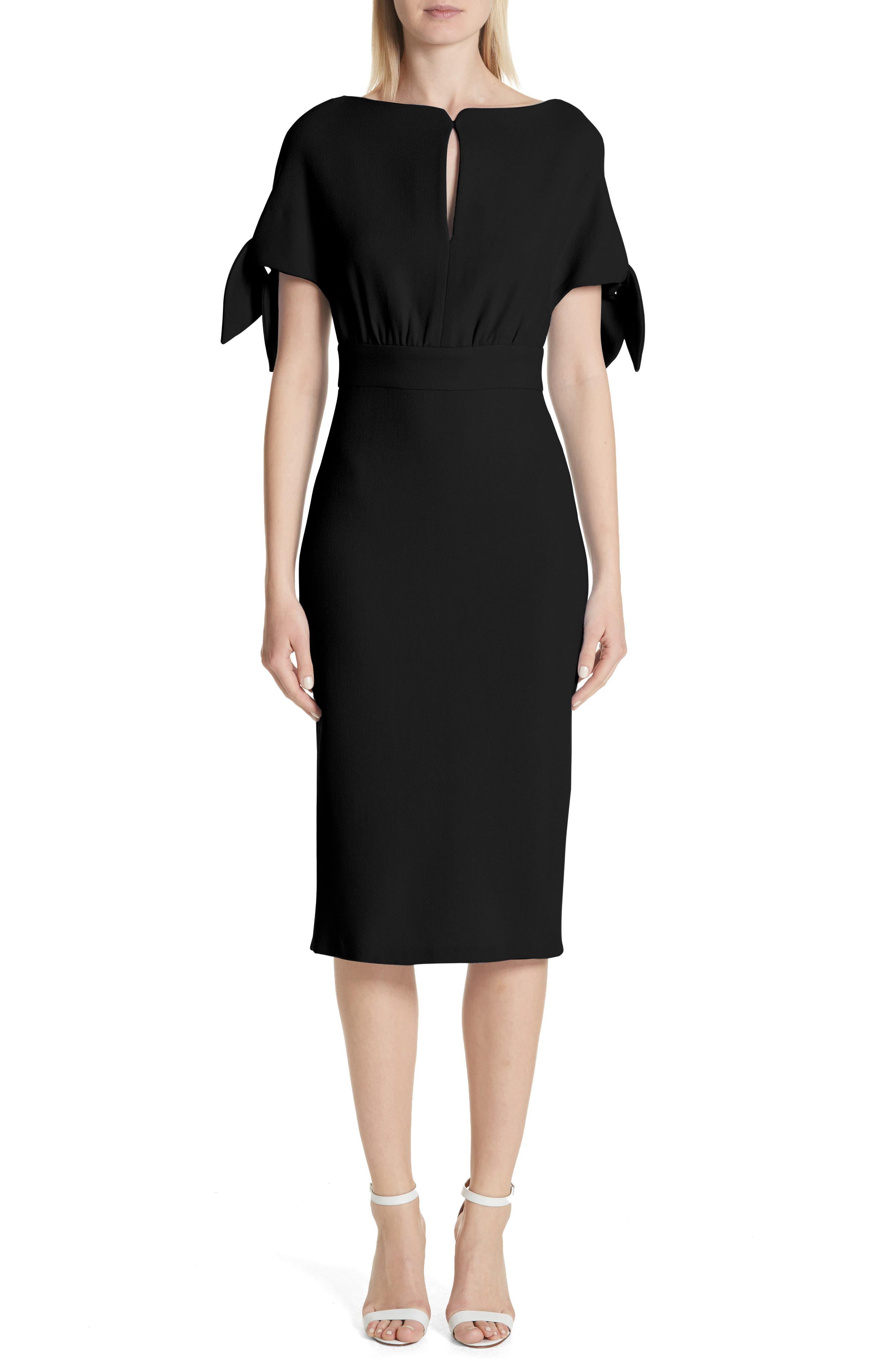 Tie Sleeve Wool Blend Sheath Dress,                         Main,                         color, 001