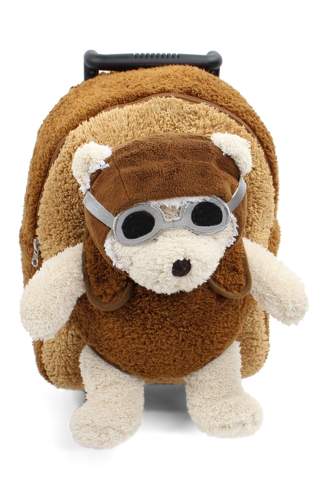 'Aviator Bear' Rolling Backpack,                             Alternate thumbnail 6, color,                             BROWN