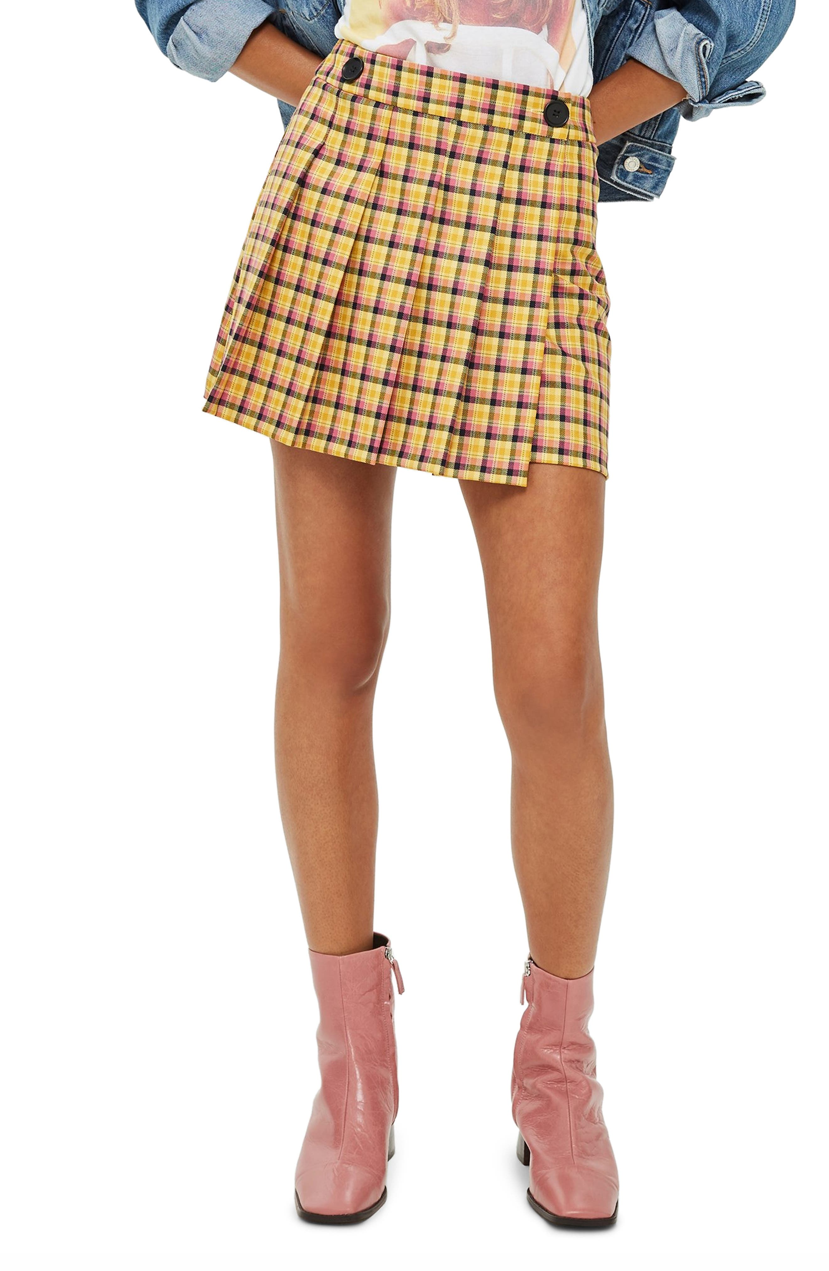 Check Kilt Miniskirt,                             Main thumbnail 1, color,                             YELLOW MULTI
