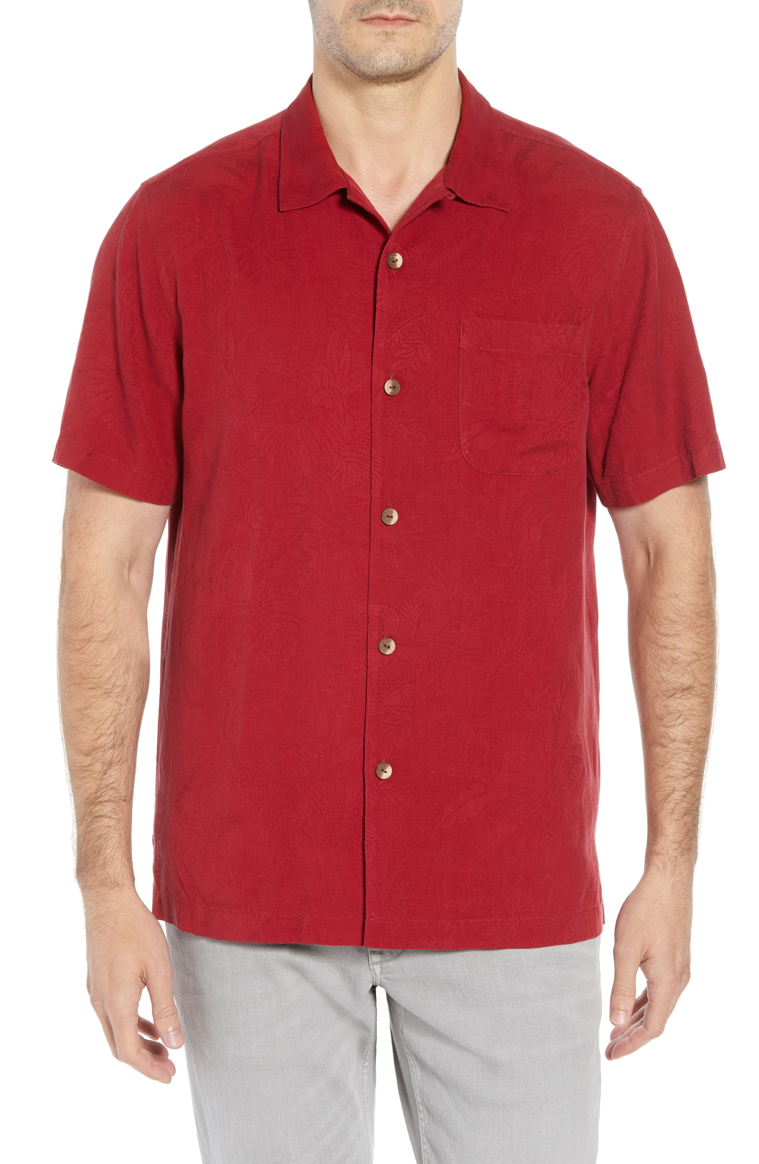 St Lucia Fronds Silk Camp Shirt,                             Main thumbnail 1, color,                             RED/ PLUM RAISIN