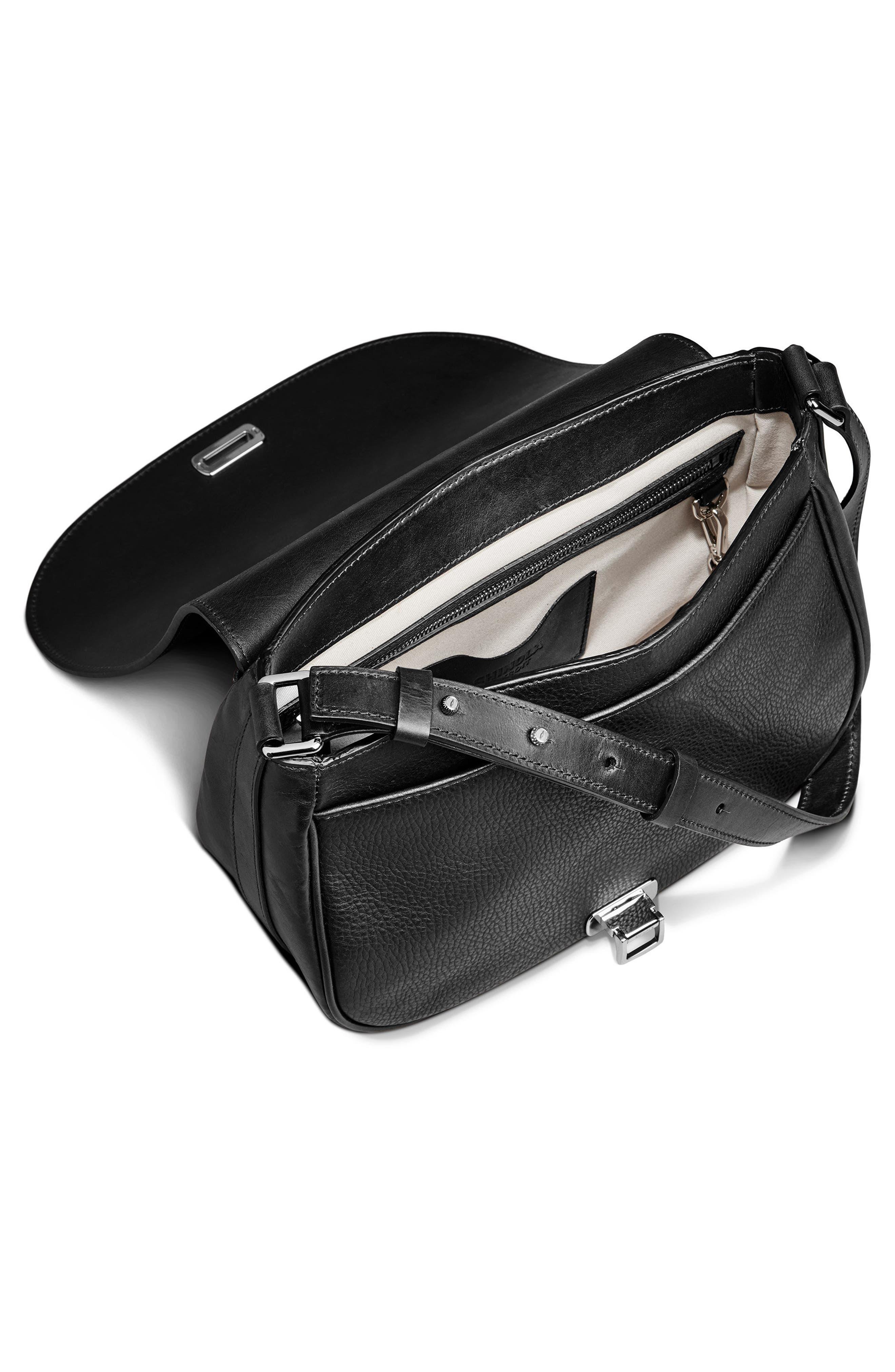 Calfskin Leather Shoulder Bag,                             Alternate thumbnail 7, color,                             001