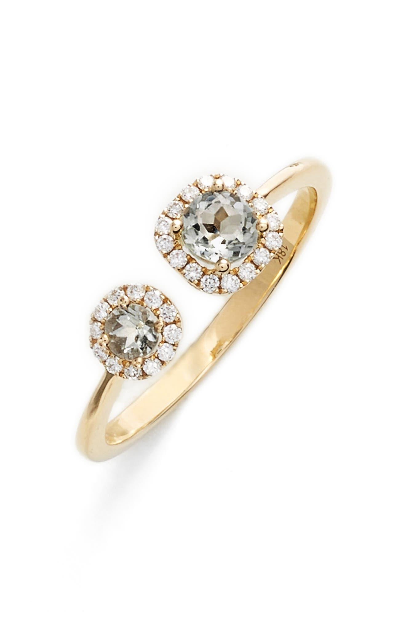 Iris Double Semiprecious Stone & Diamond Ring,                         Main,                         color, YELLOW GOLD/ PRASIOLITE