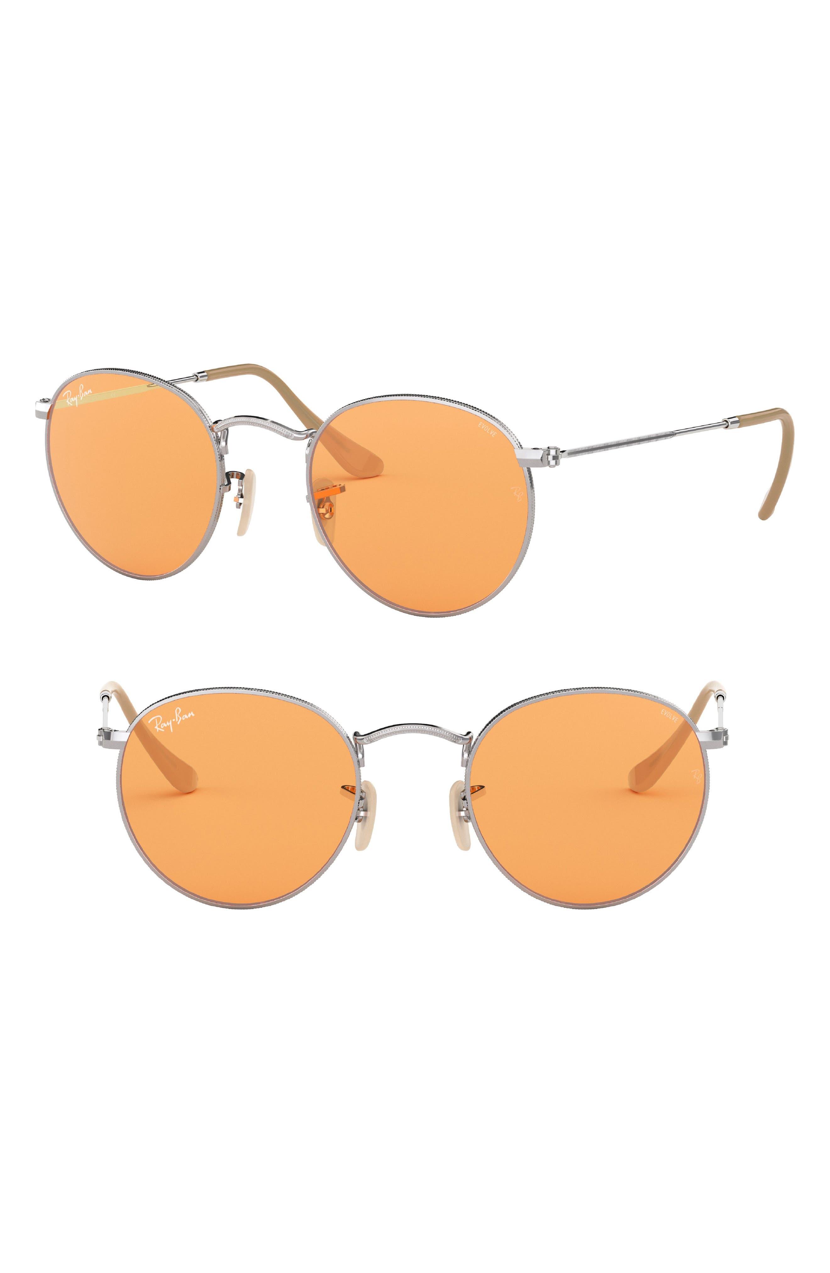 50mm Retro Inspired Round Metal Sunglasses,                         Main,                         color, 043