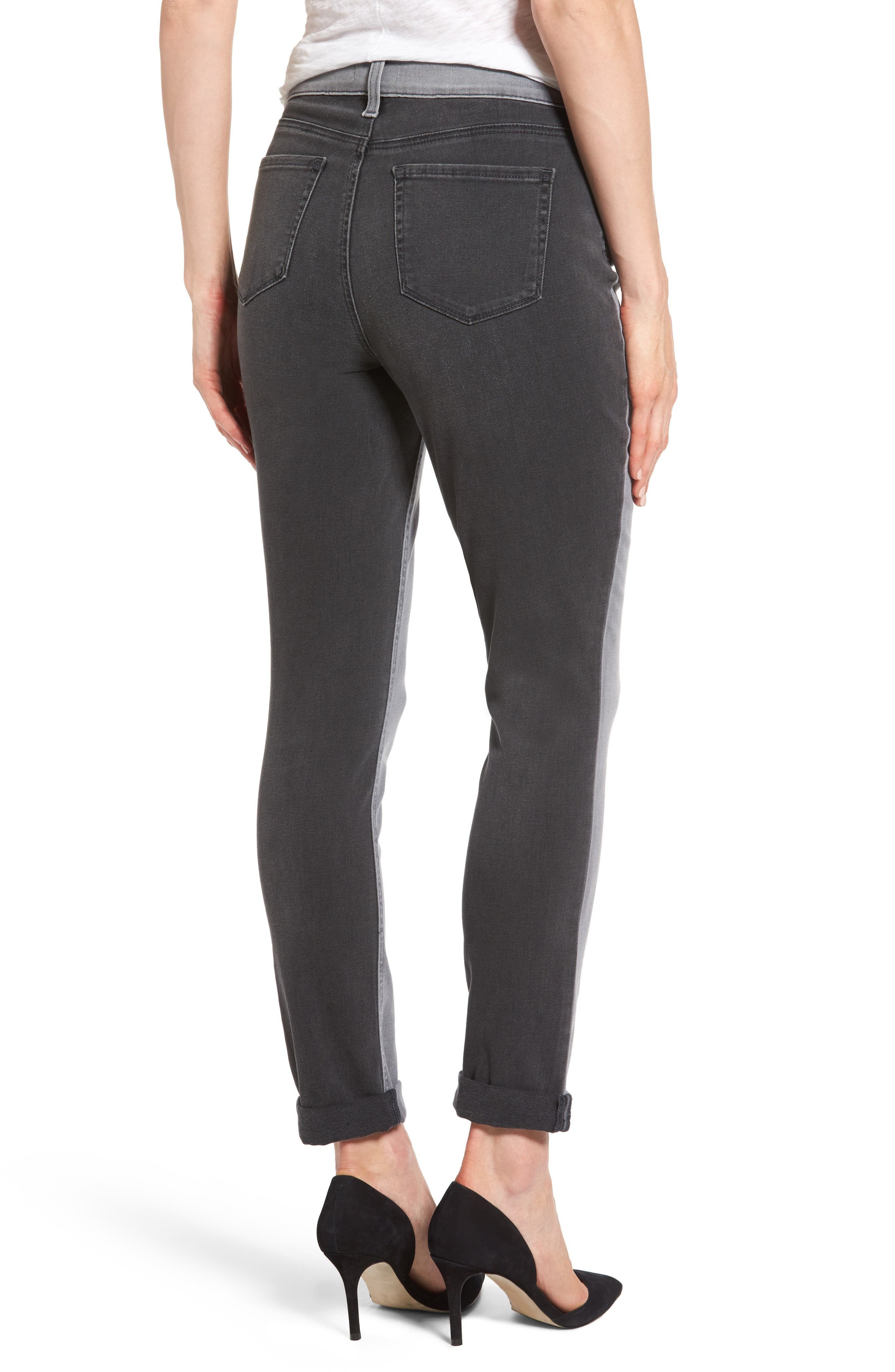 Two Tone Stretch Girlfriend Jeans,                             Alternate thumbnail 2, color,                             020