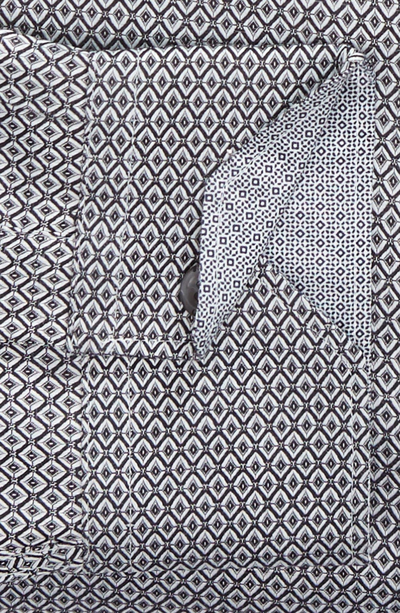 Brocco Modern Fit Geometric Dress Shirt,                             Alternate thumbnail 6, color,                             BLACK