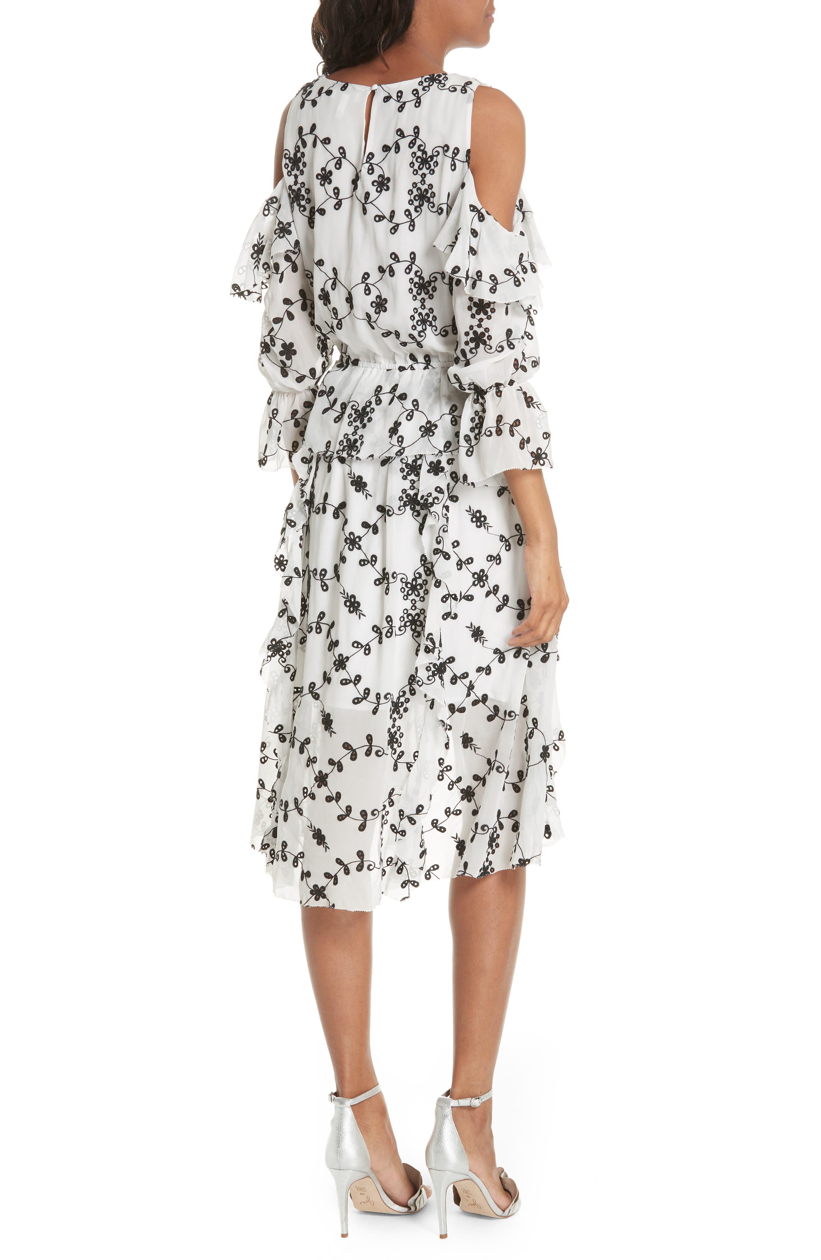 Alpheus Cold Shoulder Ruffled Silk Dress,                             Alternate thumbnail 4, color,
