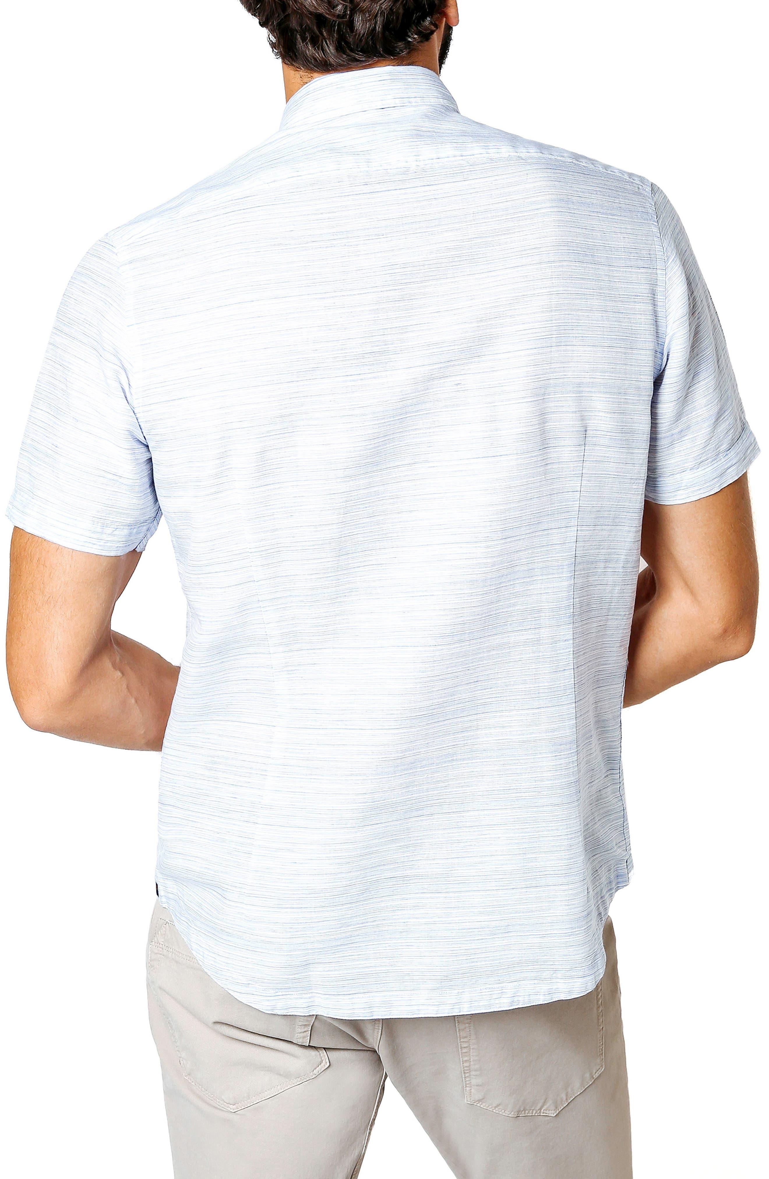 Slim Fit Stripe Short Sleeve Sport Shirt,                             Alternate thumbnail 2, color,                             BLUE