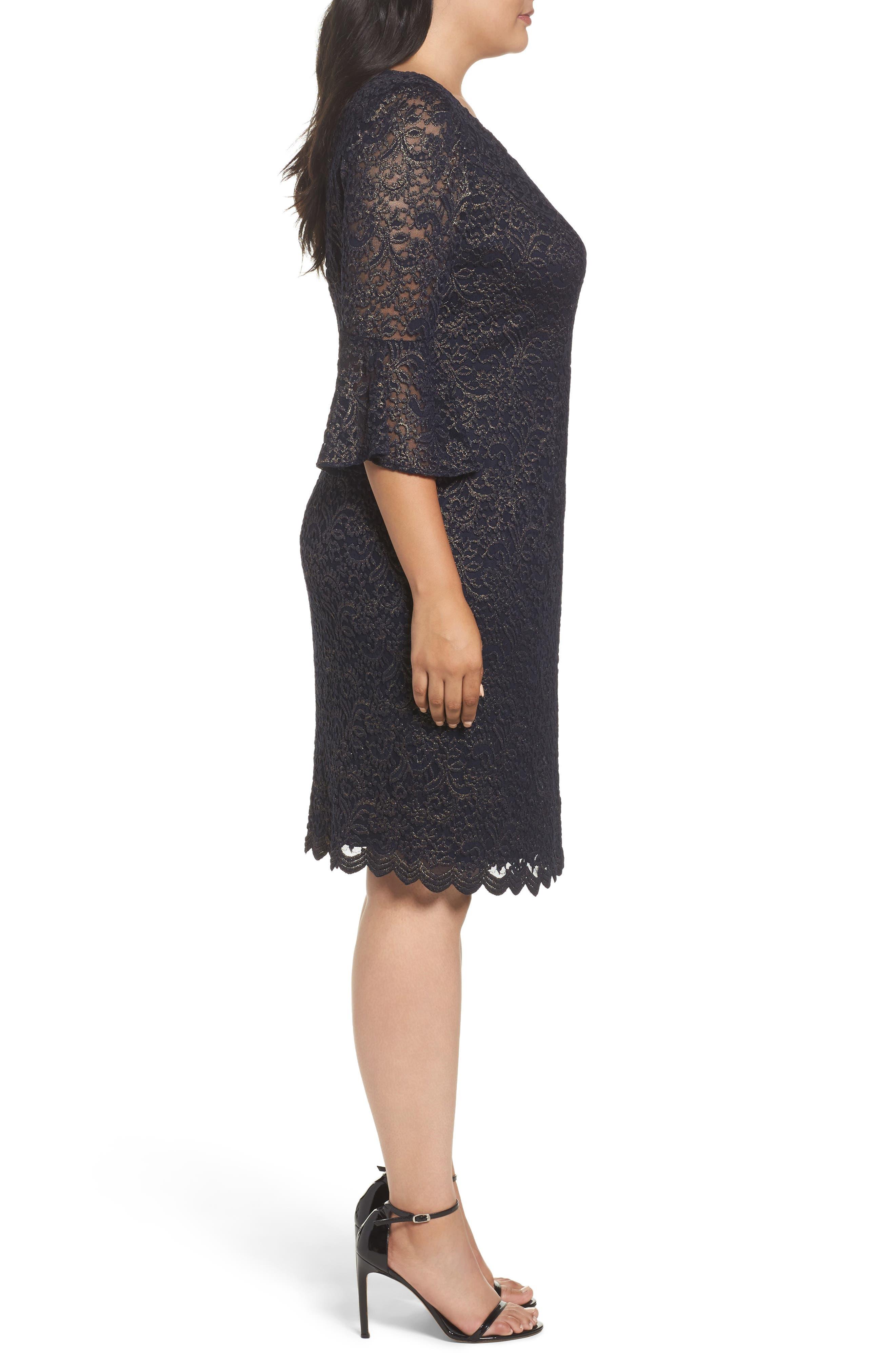 Metallic Lace Sheath Dress,                             Alternate thumbnail 3, color,