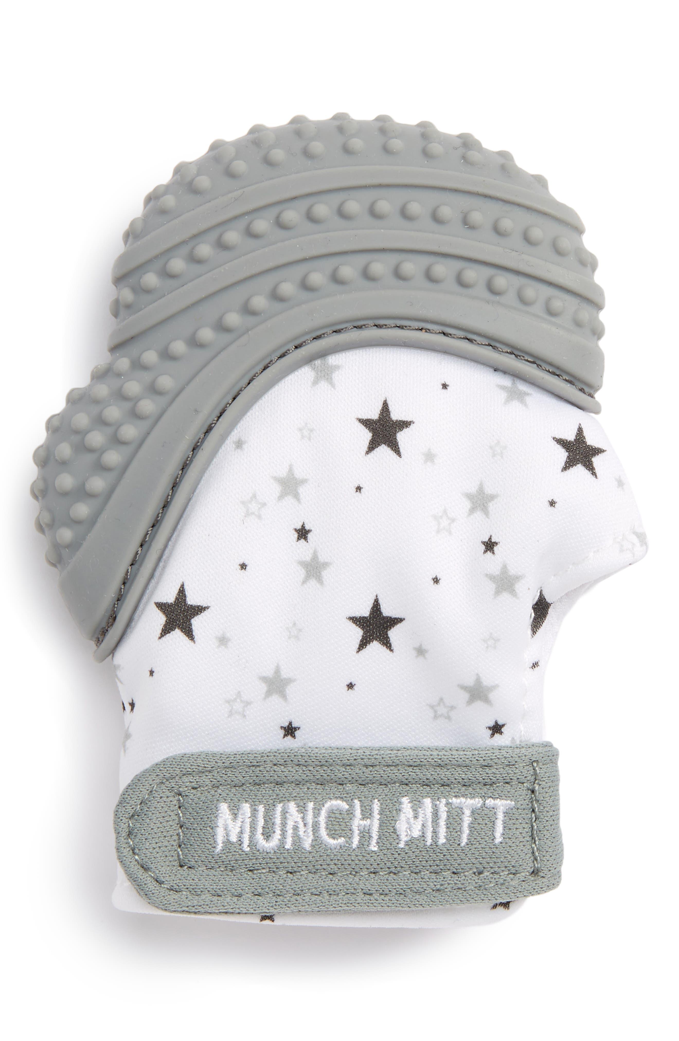 Teething Mitt,                         Main,                         color, GREY STARS
