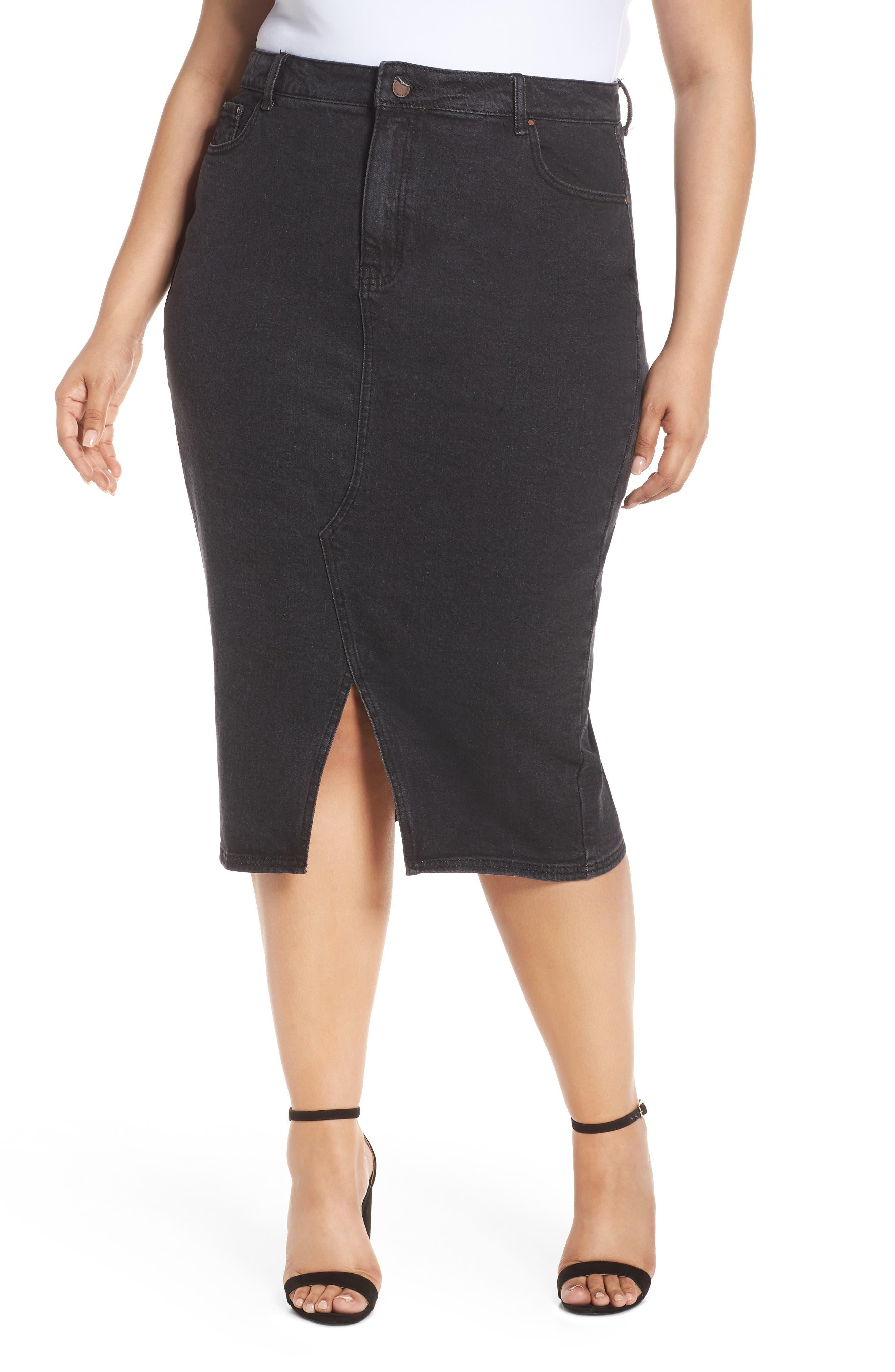 Plus Size Lost Ink Denim Pencil Skirt, Black